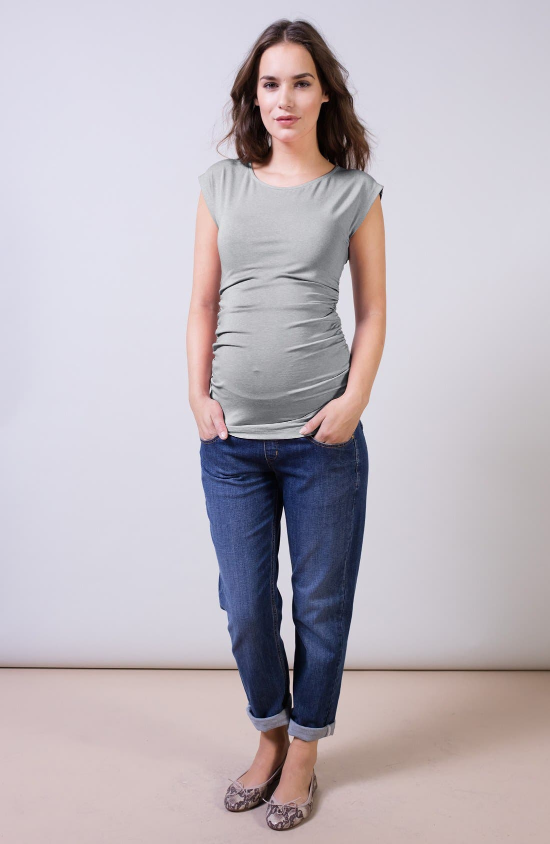 Relaxed Maternity Jeans,                             Alternate thumbnail 3, color,                             Washed Indigo