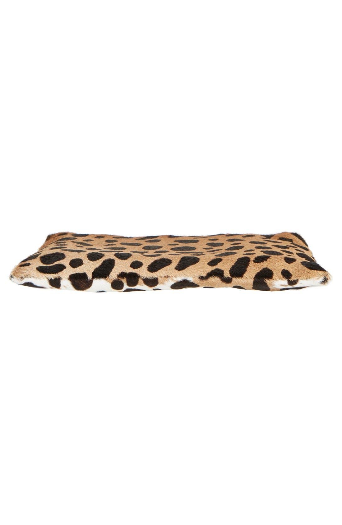 'Core' Leopard Print Genuine Calf Hair Pouch,                             Alternate thumbnail 6, color,                             Leopard