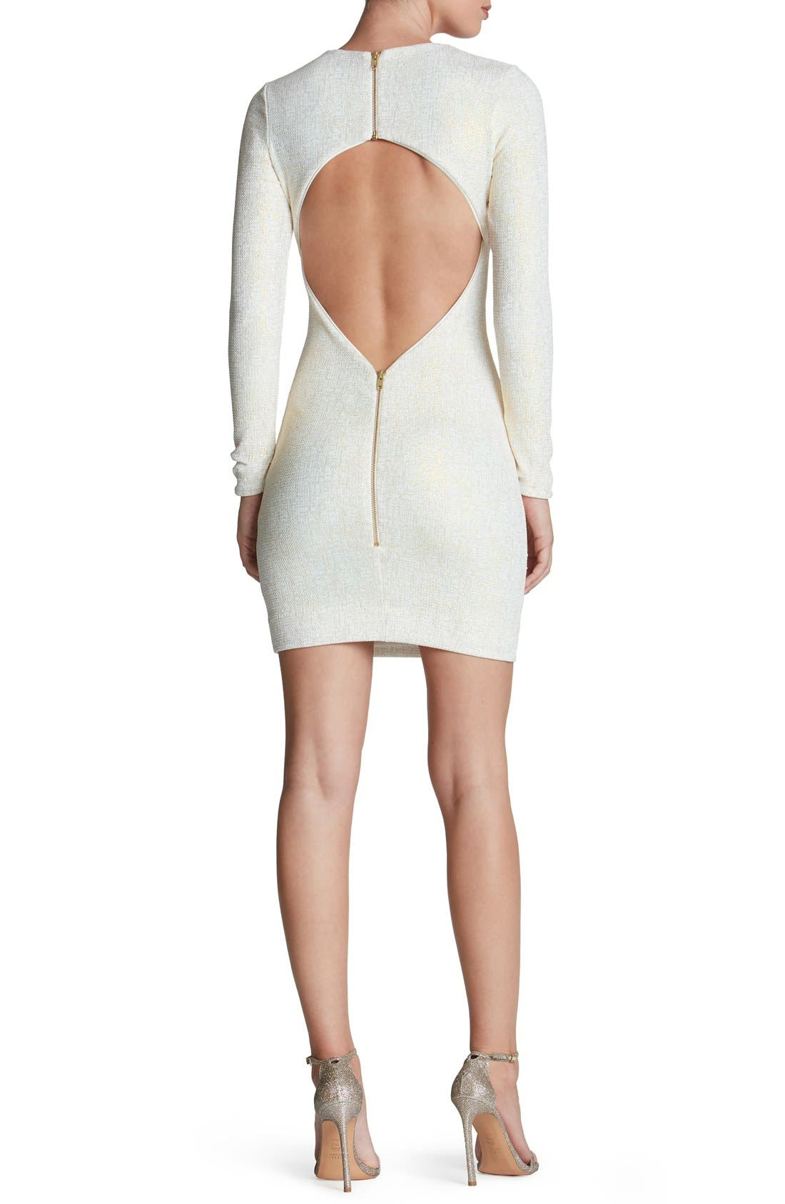 Tori Body-Con Dress,                             Alternate thumbnail 2, color,                             Ivory/ Gold
