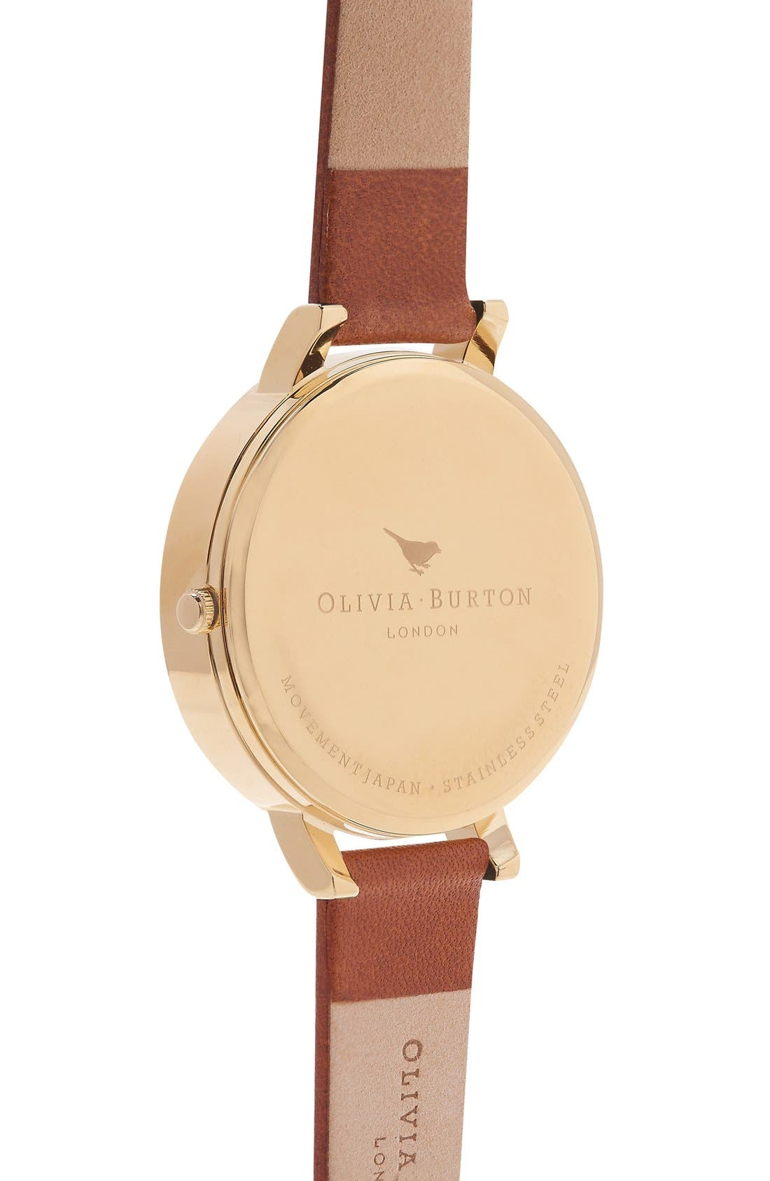 Alternate Image 3  - Olivia Burton 'Molded Bee' Leather Strap Watch, 38mm