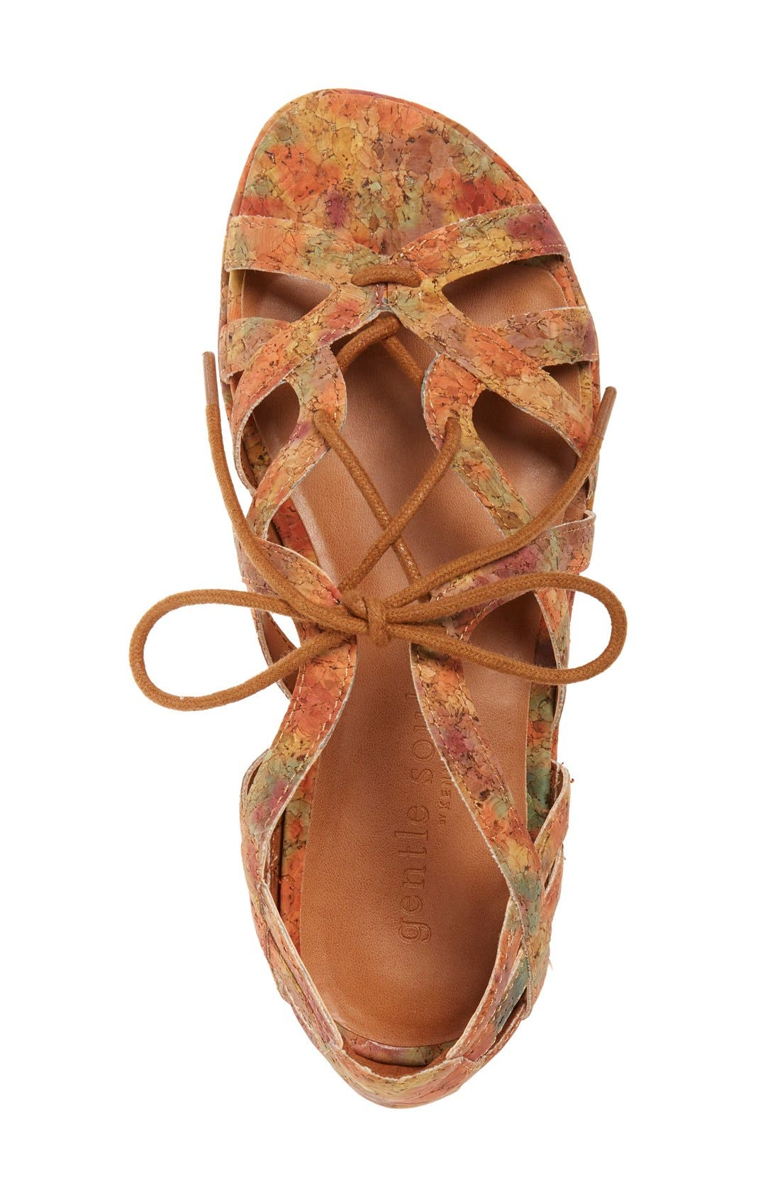 'Orly' Lace-Up Sandal,                             Alternate thumbnail 6, color,                             Natural/ Floral Cork