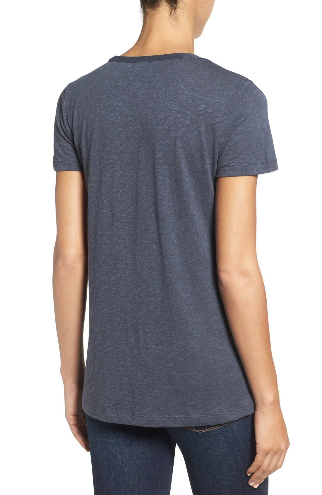 Alternate Image 2  - Caslon® Rounded V-Neck Tee (Regular & Petite)