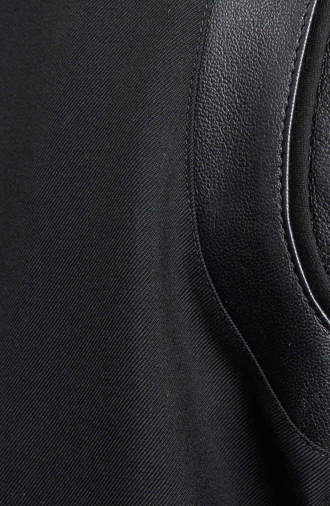 'Teddy' Black Leather Trim Bomber Jacket,                             Alternate thumbnail 3, color,                             Black