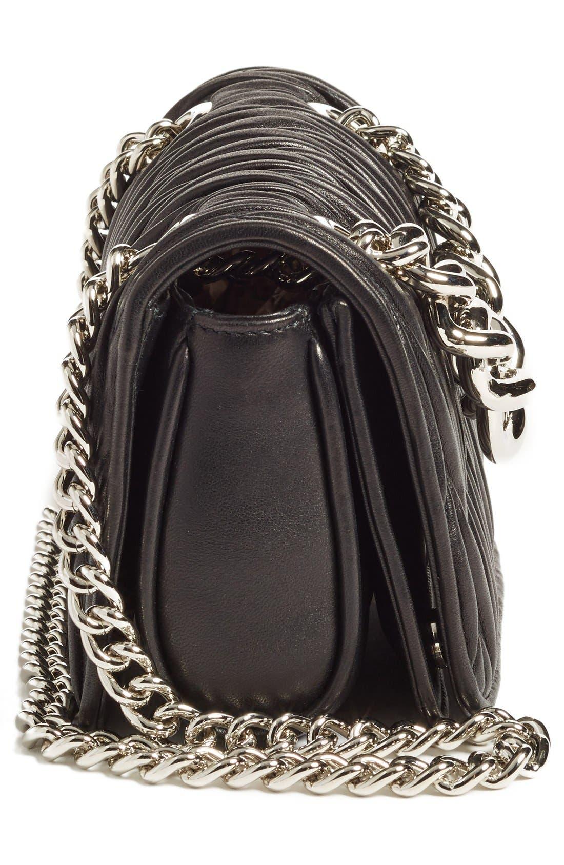 Small Matelassé Leather Shoulder Bag,                             Alternate thumbnail 5, color,                             Nero