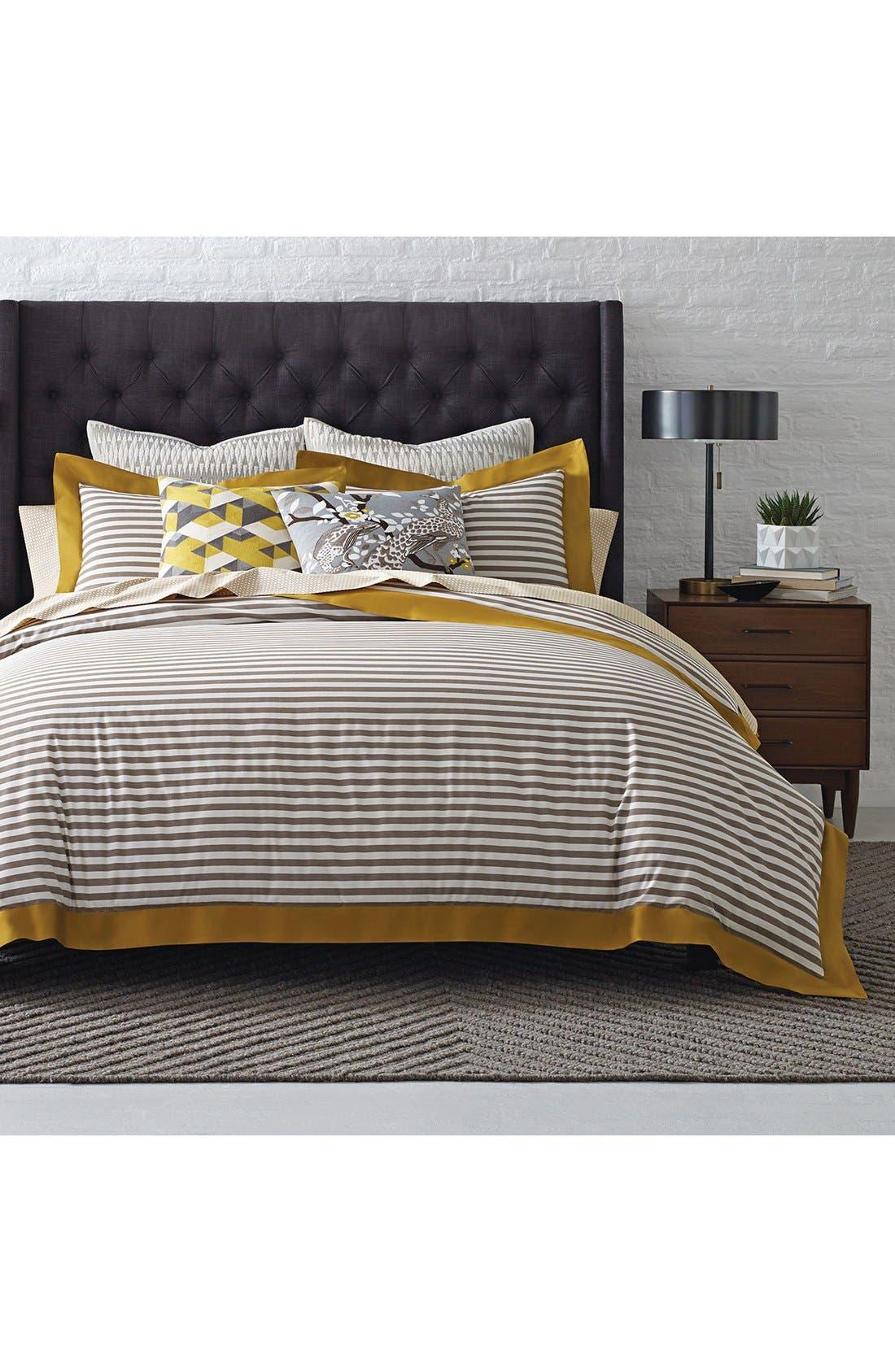 'Draper Stripe' Duvet Cover,                             Main thumbnail 1, color,                             Yellow/ Multi