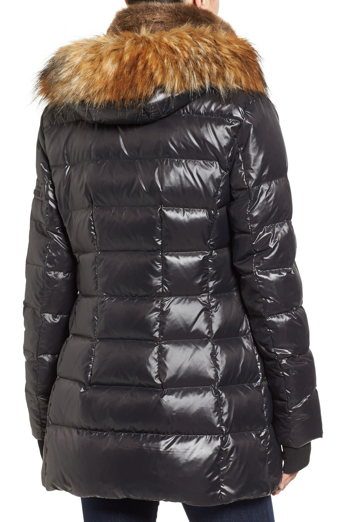 'Chelsea' Gloss Down Jacket with Removable Hood and Faux Fur Trim,                             Alternate thumbnail 2, color,                             Jet