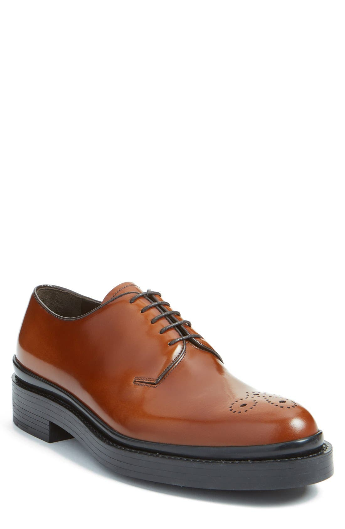 Medallion Toe Derby,                         Main,                         color, Tabacco/ Nero Leather