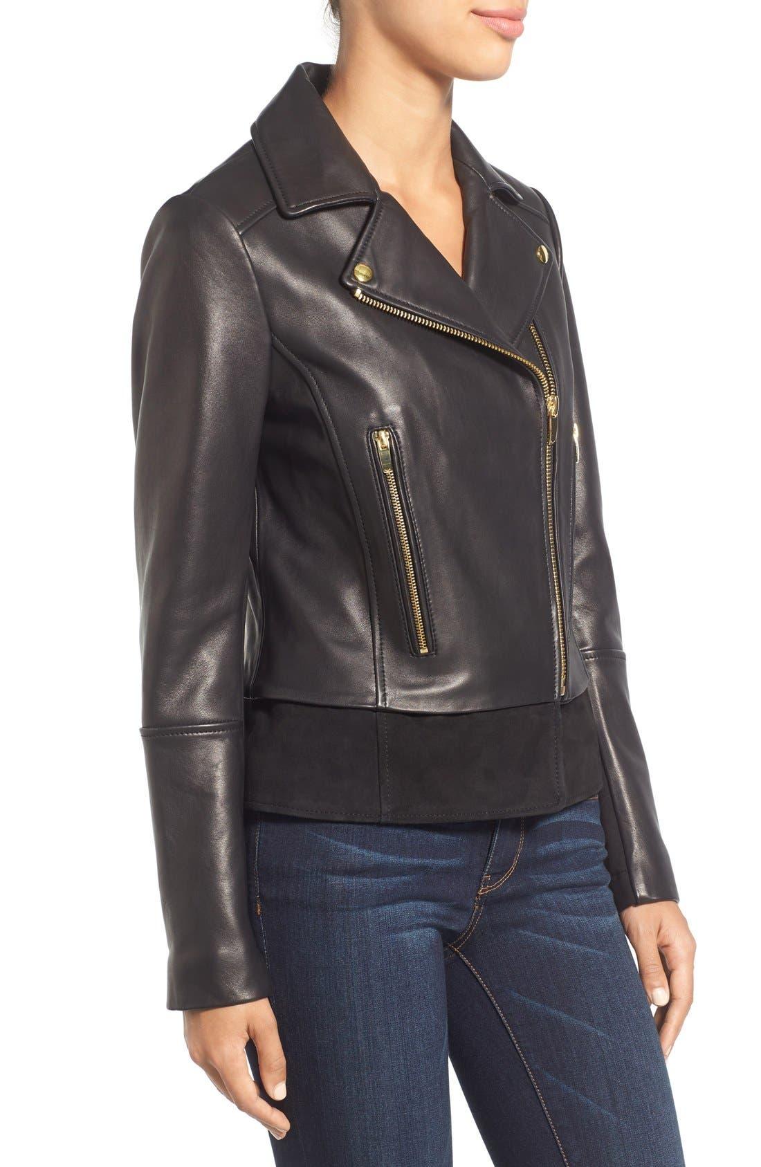 Mixed Media Leather Moto Jacket,                             Alternate thumbnail 3, color,                             Black