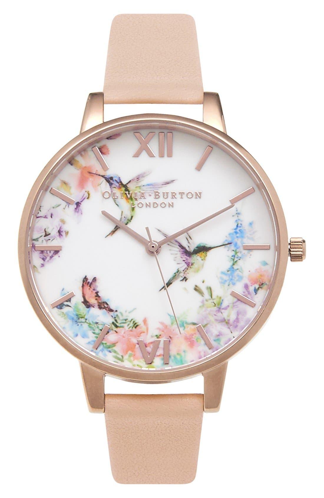 Olivia Burton 'Painterly Prints' Leather Strap Watch, 38mm