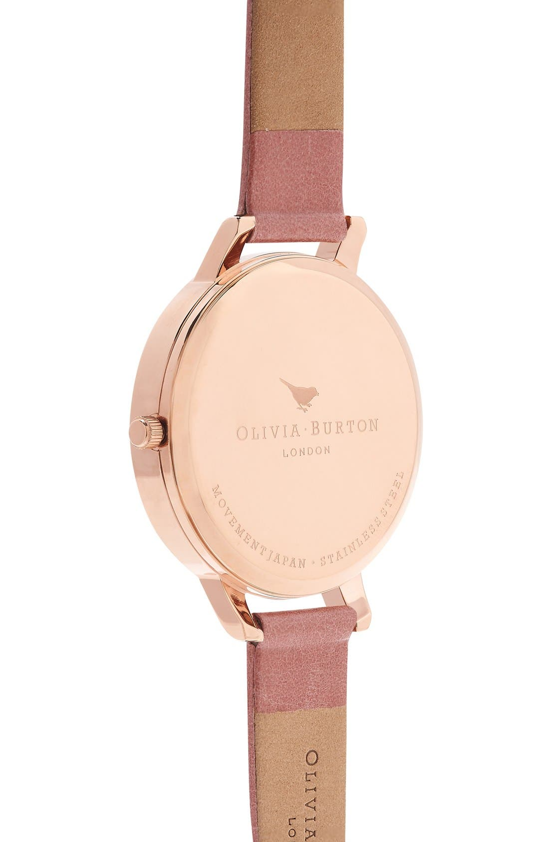 Big Dial Leather Strap Watch, 38mm,                             Alternate thumbnail 3, color,                             Rose/ Rose Gold