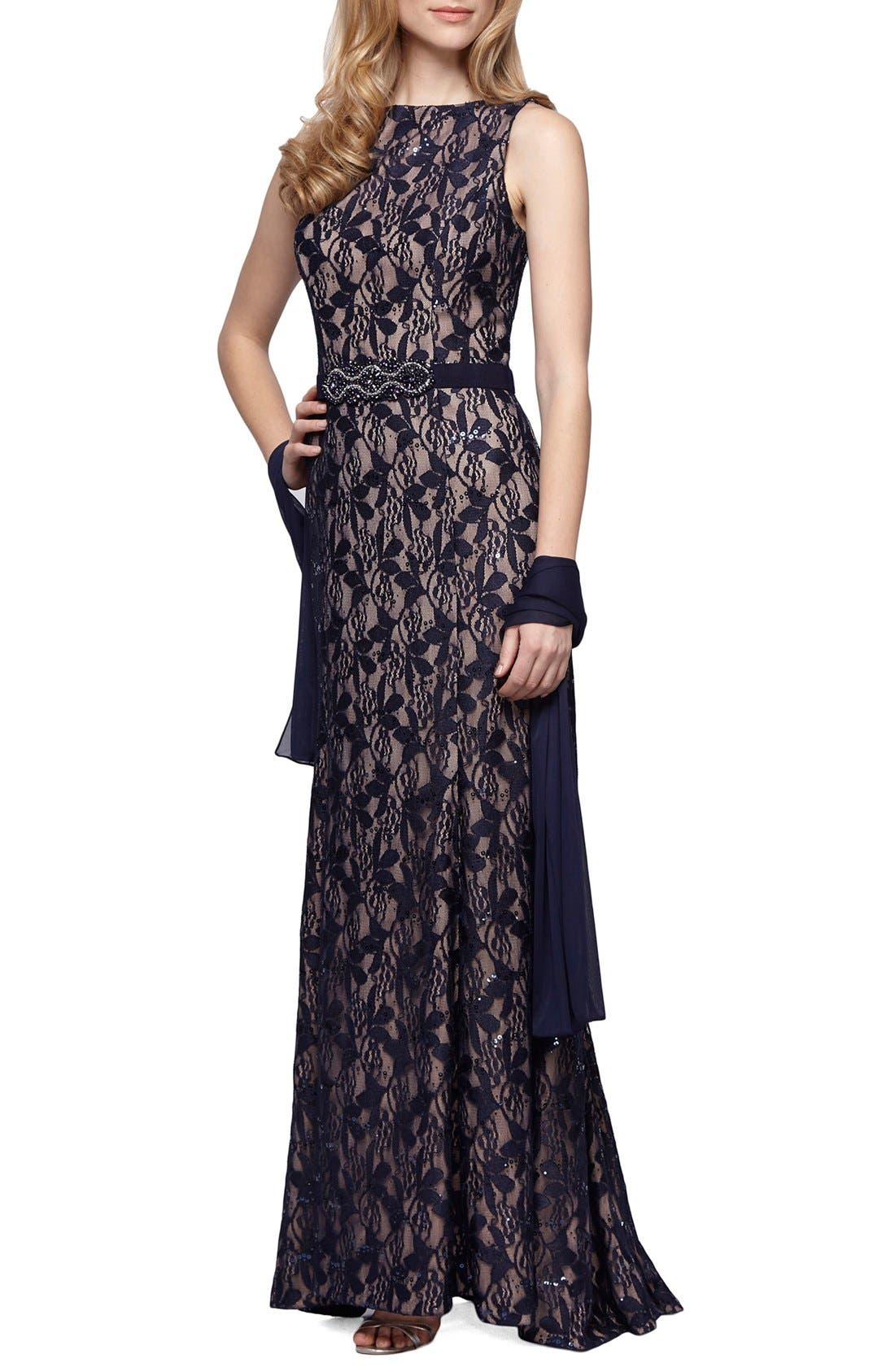 Alternate Image 1 Selected - Alex Evenings Embellished Lace Gown & Shawl (Regular & Petite)