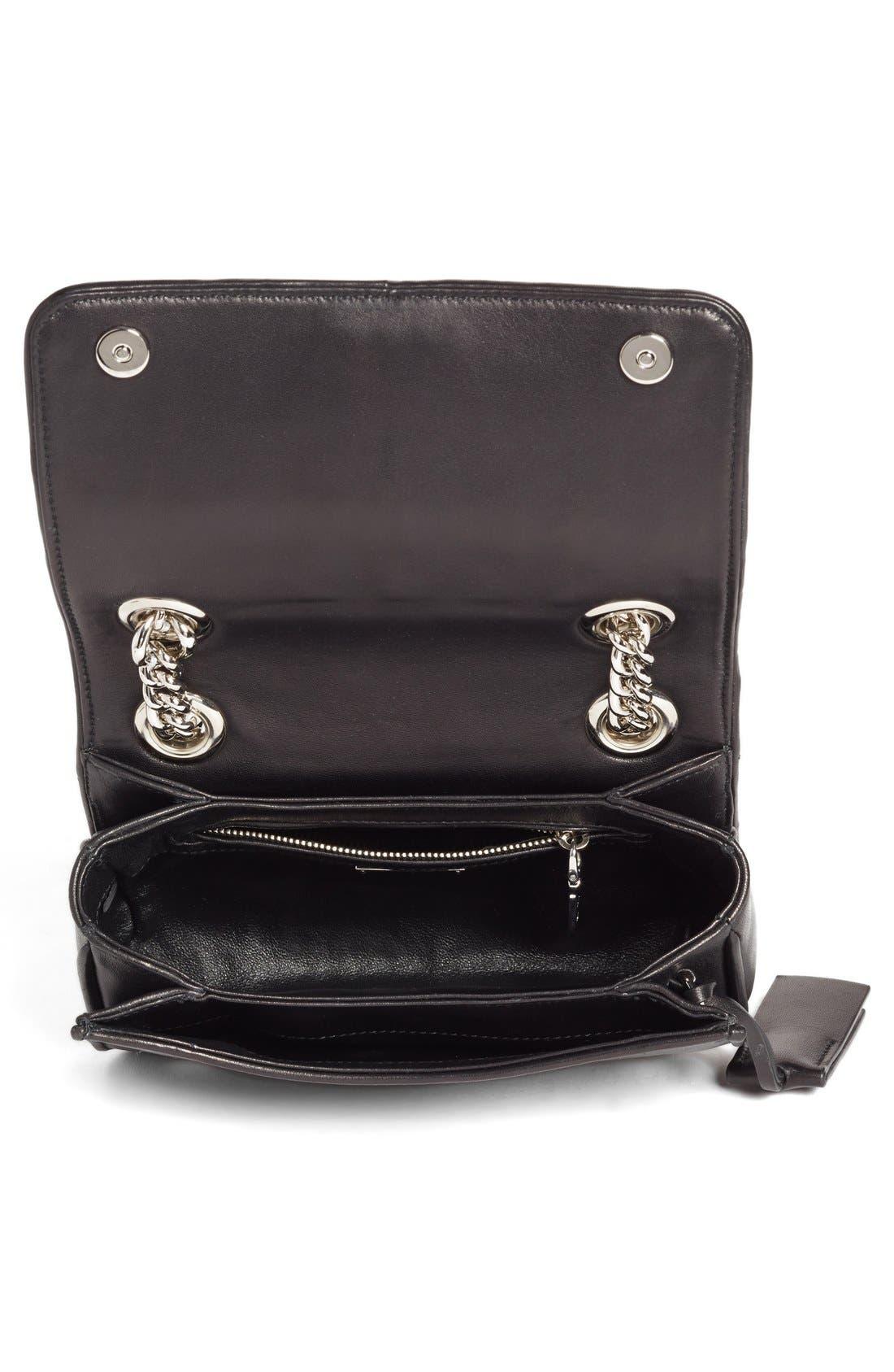 Small Matelassé Leather Shoulder Bag,                             Alternate thumbnail 4, color,                             Nero