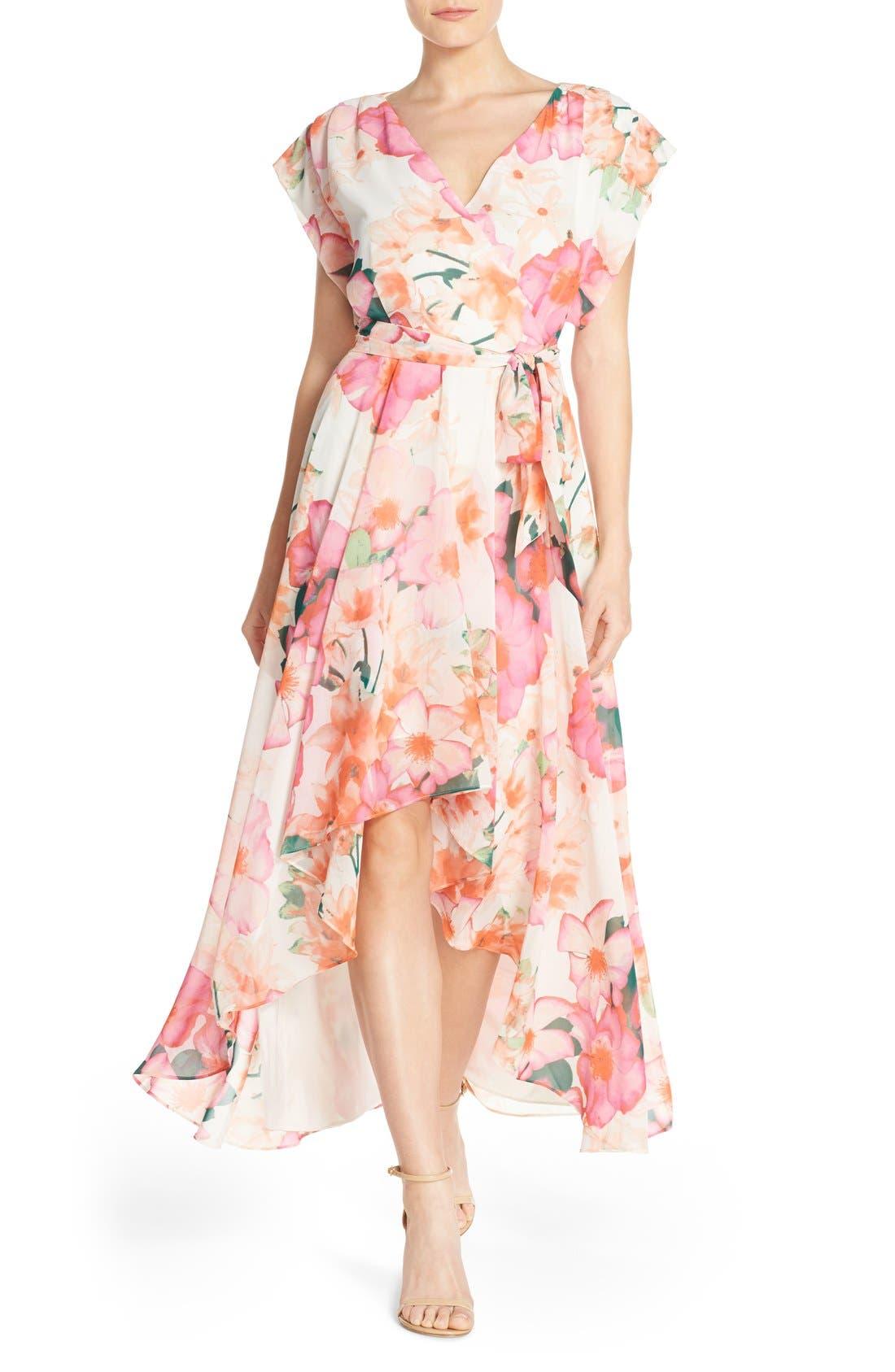 Floral Print Gown,                         Main,                         color, Pink/ Purple