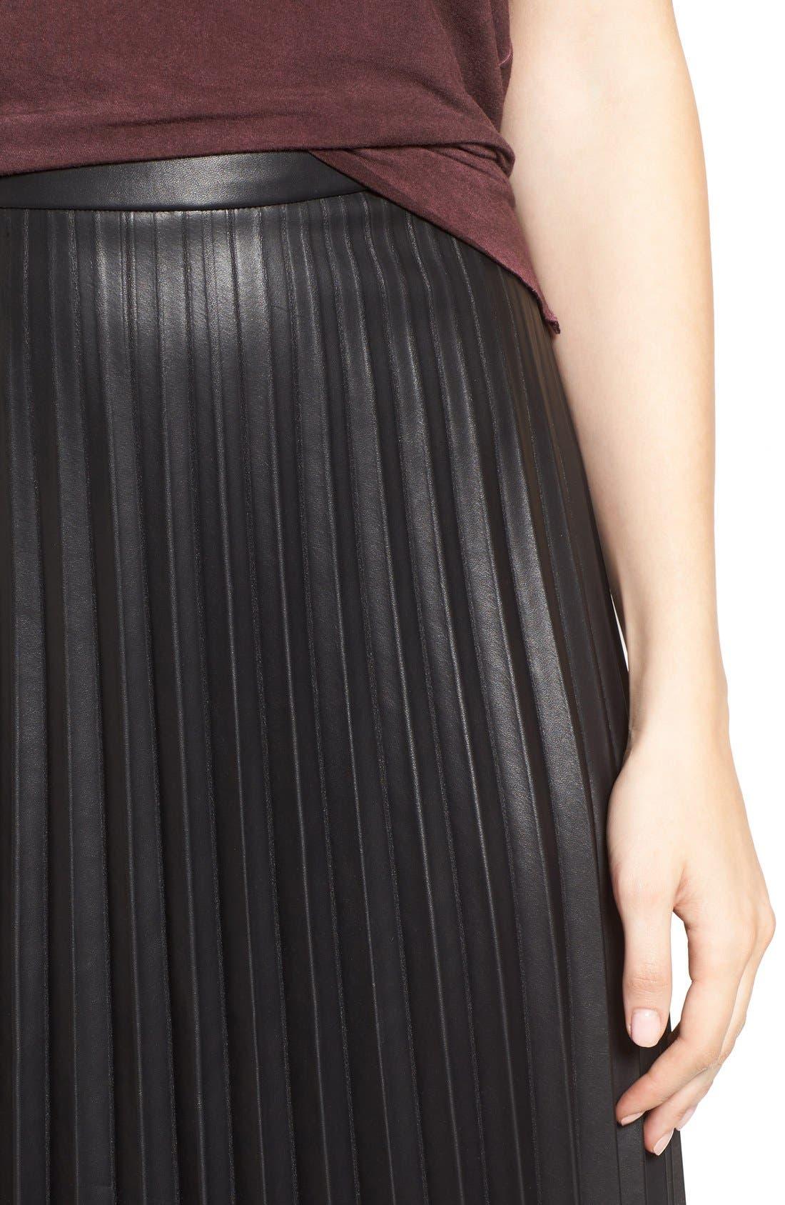 Faux Leather Pleat Skirt,                             Alternate thumbnail 4, color,                             Black