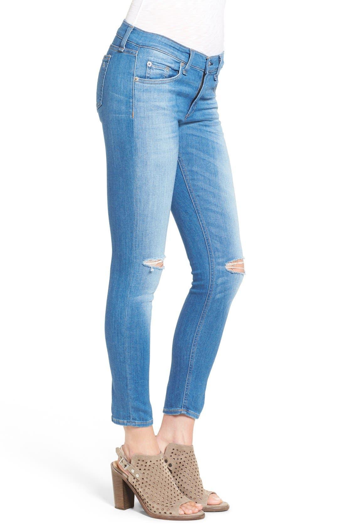 Alternate Image 3  - rag & bone/JEAN Destroyed Crop Skinny Jeans
