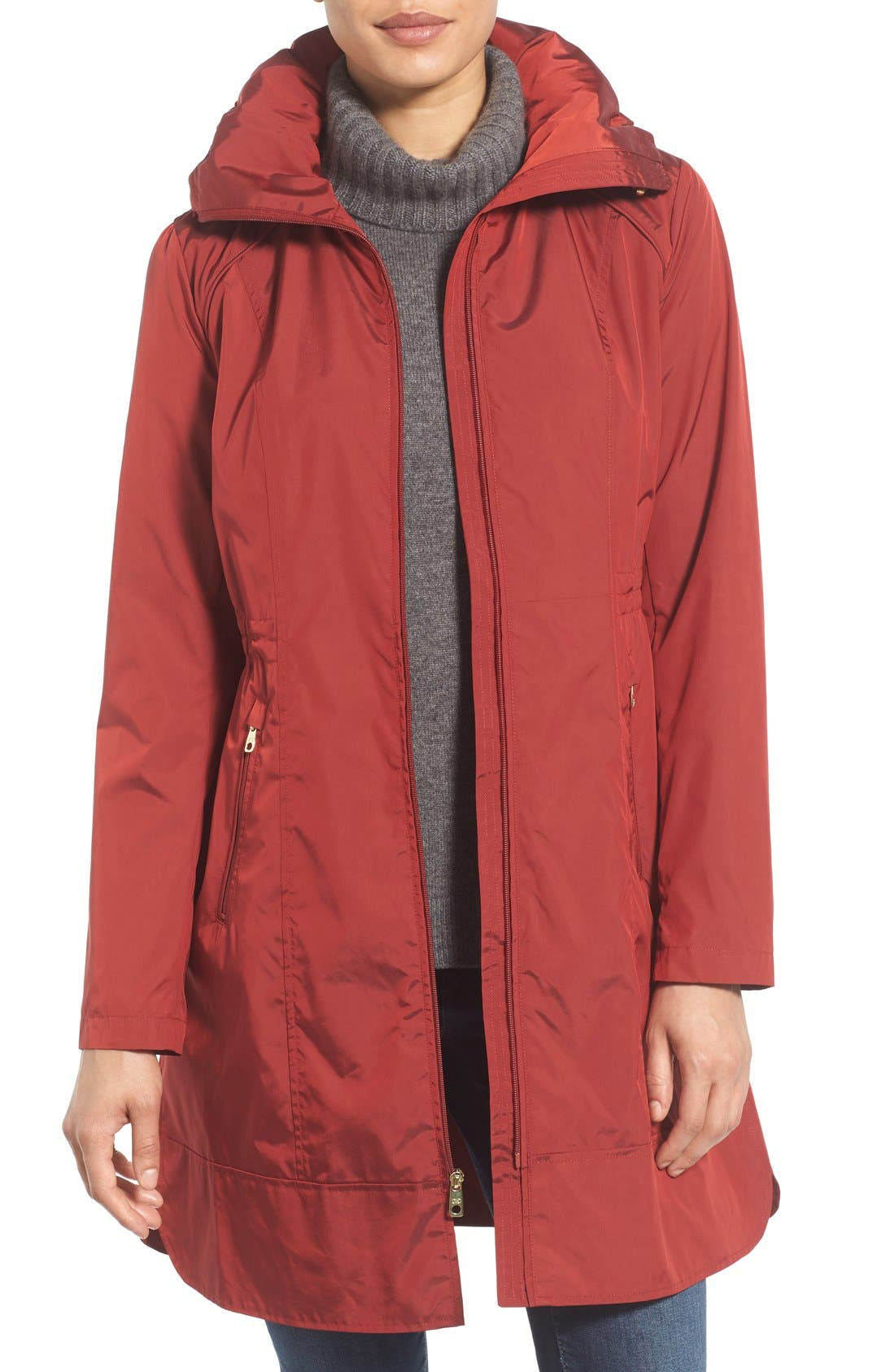 Packable Rain Jacket,                         Main,                         color, Garnet
