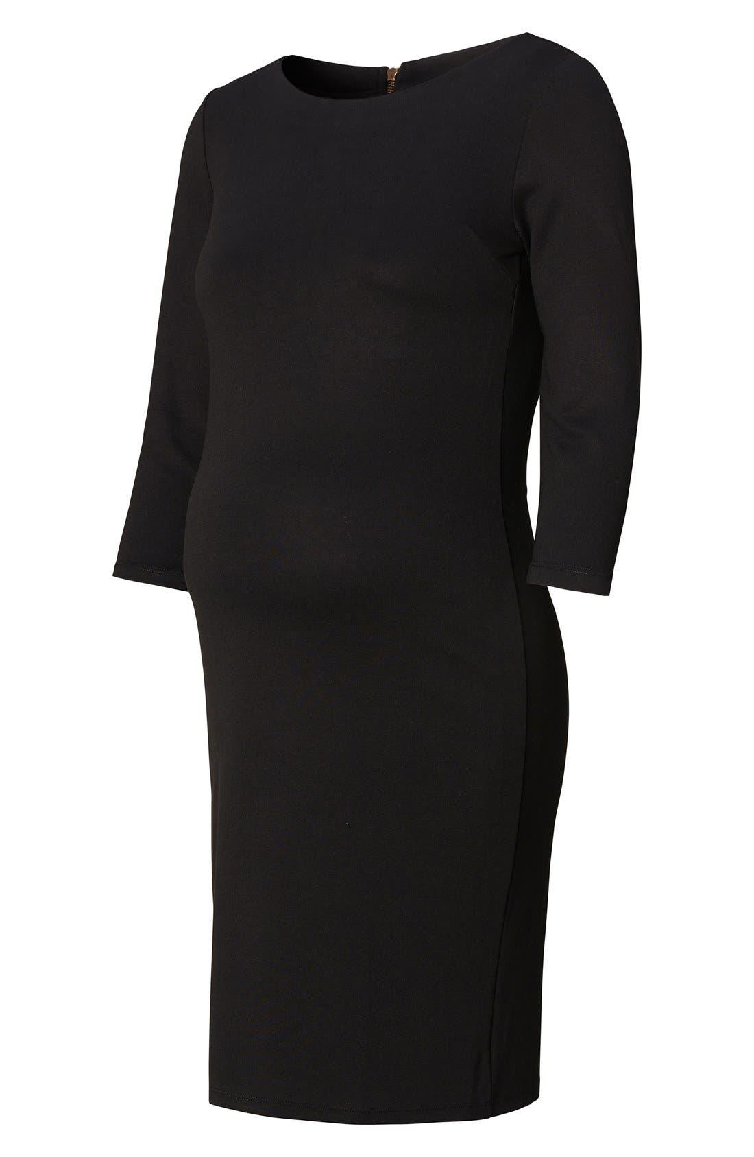 Maternity Dress,                             Alternate thumbnail 4, color,                             Black
