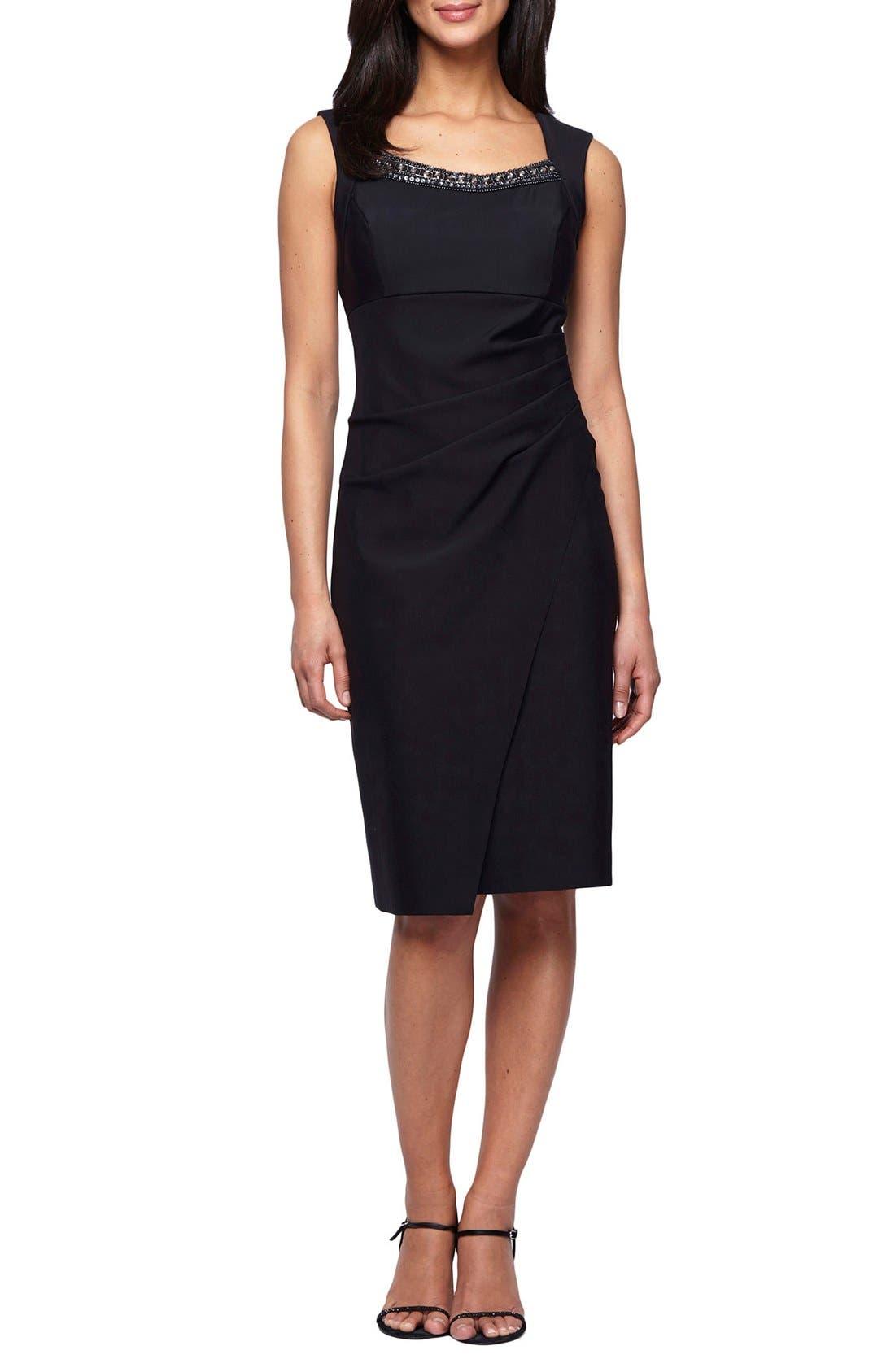 Embellished Neck Ruched Sheath Dress,                         Main,                         color, Black