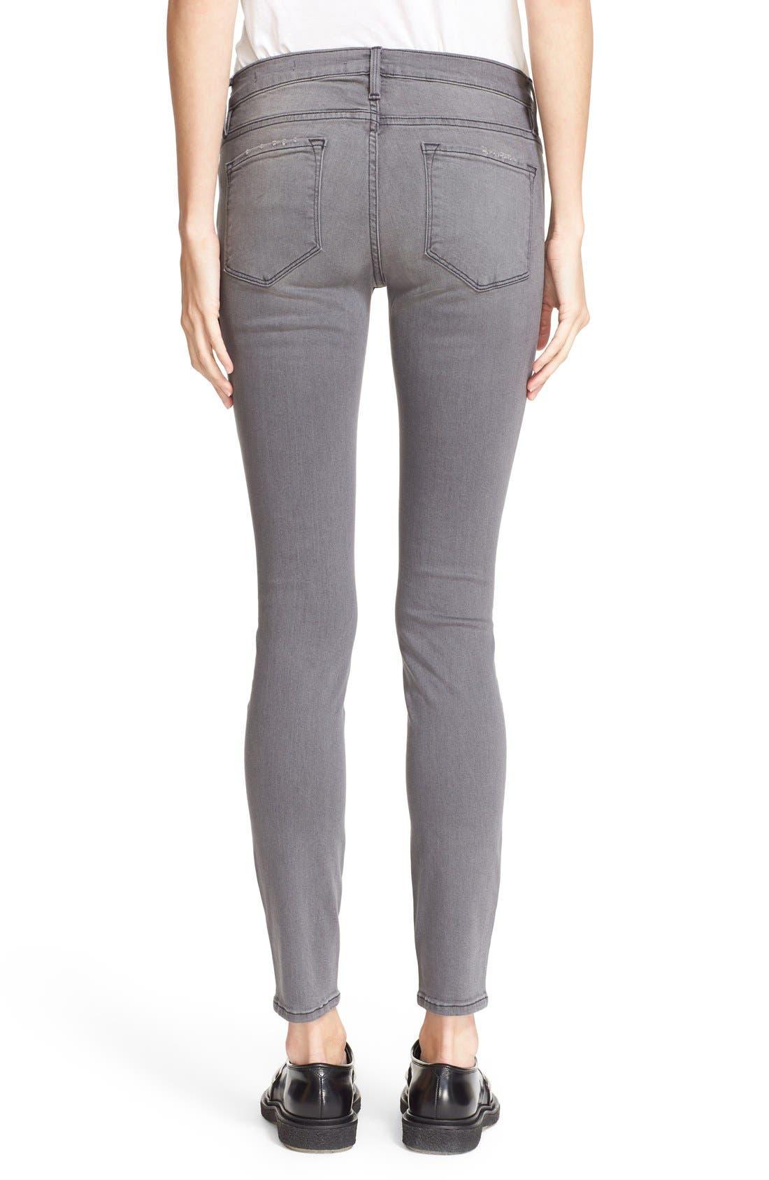 Alternate Image 2  - FRAME Le Skinny de Jeanne Jeans (Grey Shred)
