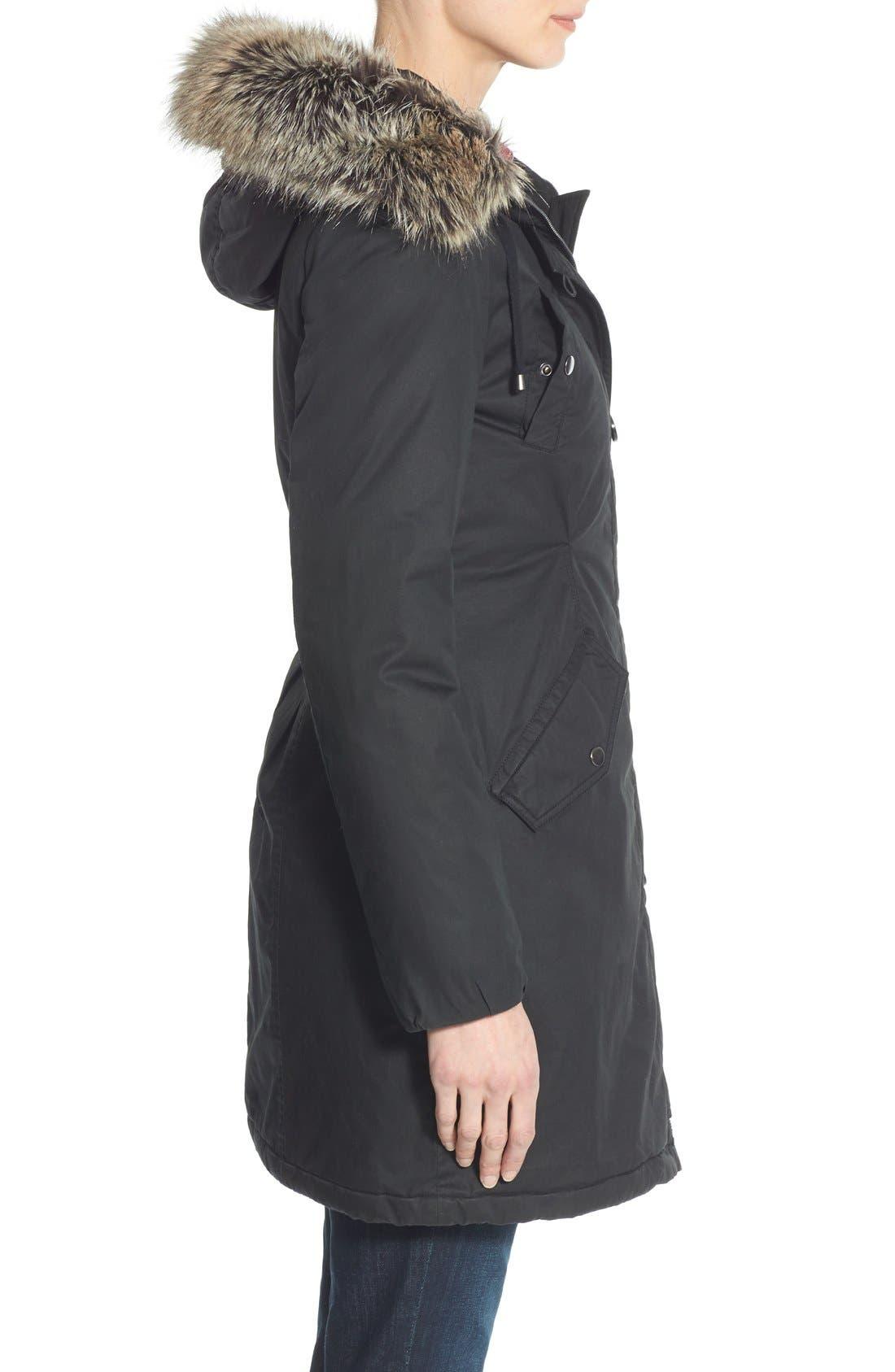 Alternate Image 3  - Halogen® Hooded Parka with Faux Fur Trim (Regular & Petite)