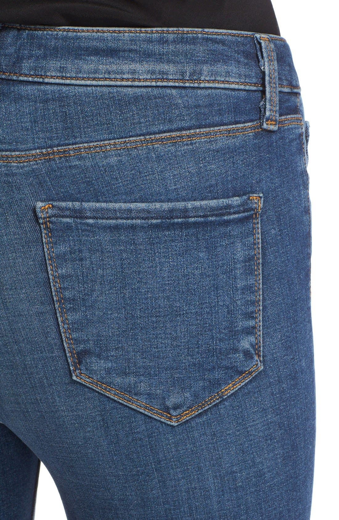 '30' High Rise Skinny Jeans,                             Alternate thumbnail 4, color,                             Dark Vintage