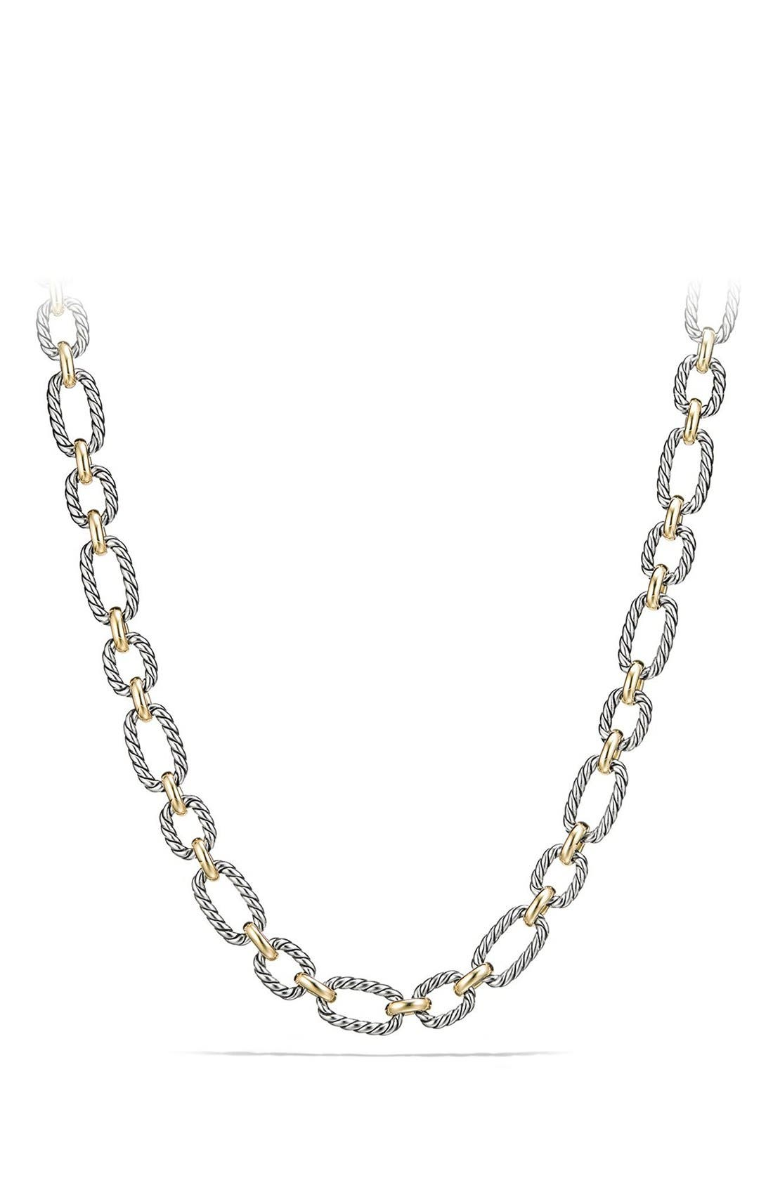 Cushion Link Necklace with Blue Sapphires,                         Main,                         color, Silver/ Gold/ Blue Sapphire