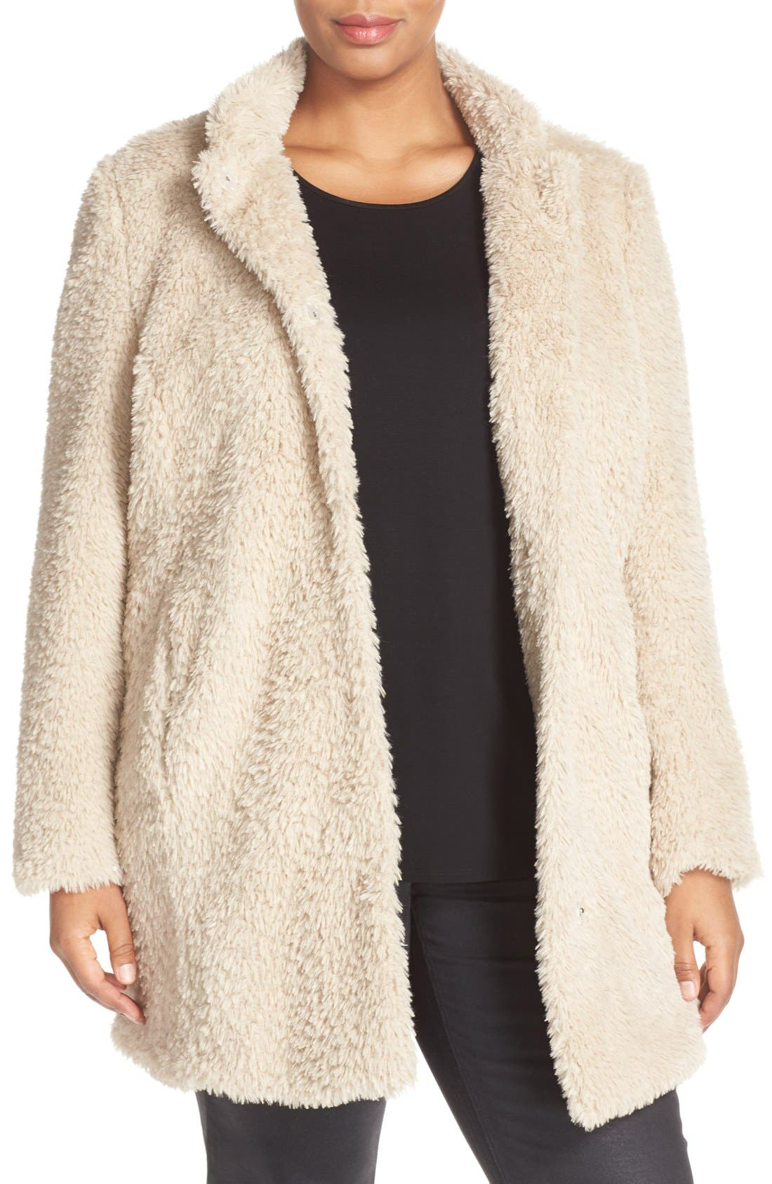 Main Image - Kenneth Cole New York 'Original Teddy' Faux Fur Coat (Plus Size)