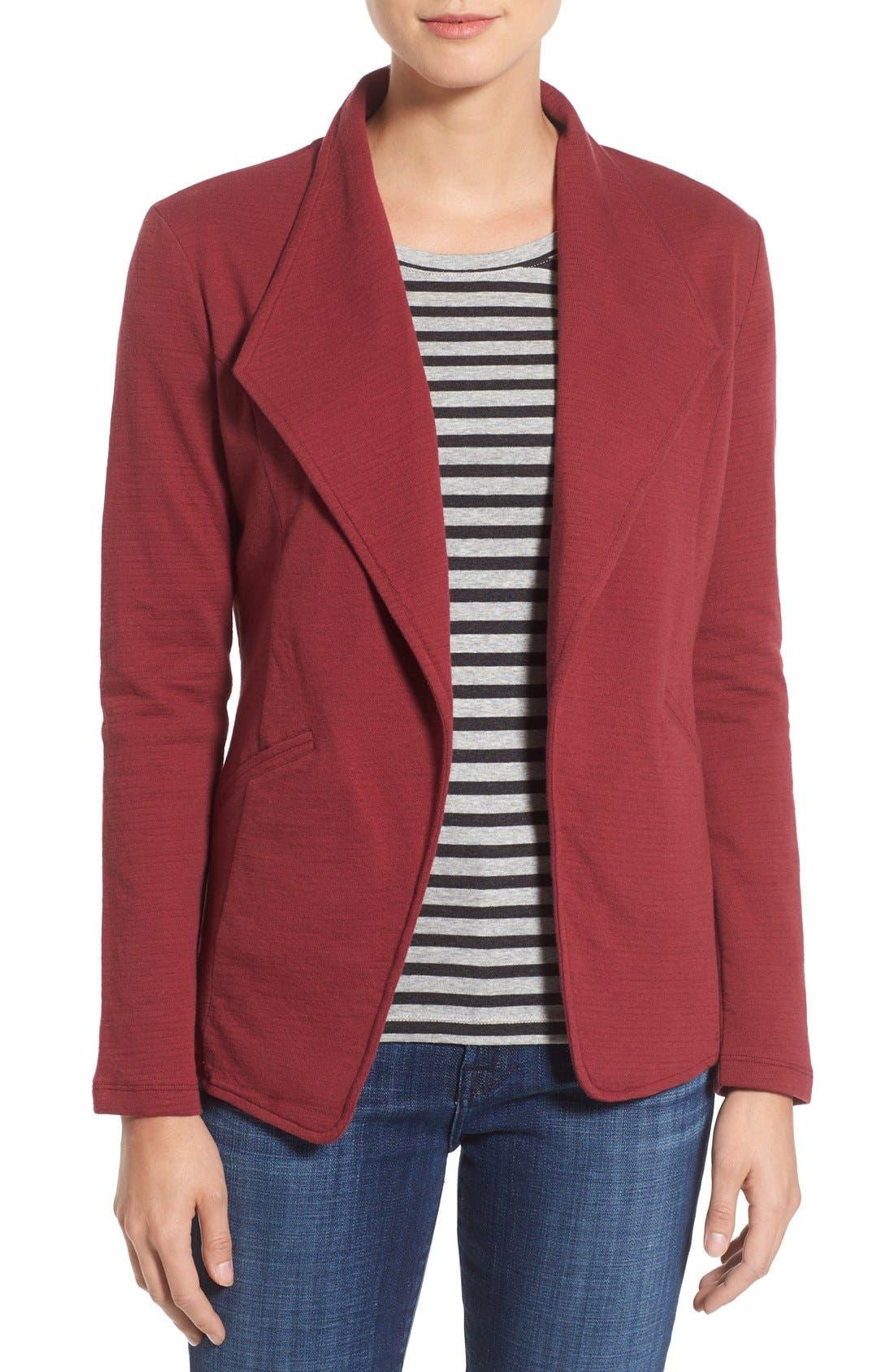 Caslon® Cotton Knit Open Front Blazer (Regular & Petite)