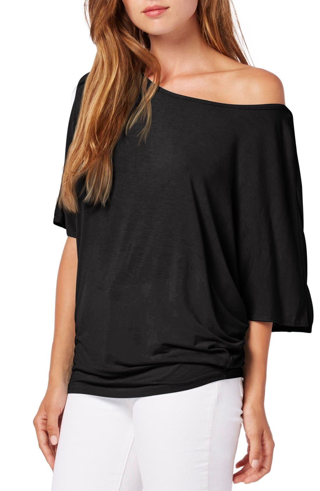 Boatneck Dolman Sleeve Jersey Top,                             Main thumbnail 1, color,                             Black