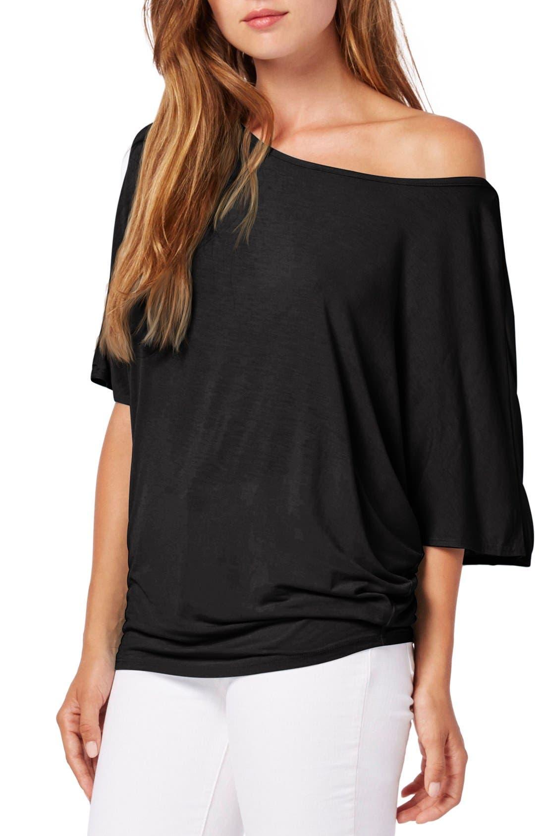 Boatneck Dolman Sleeve Jersey Top,                         Main,                         color, Black
