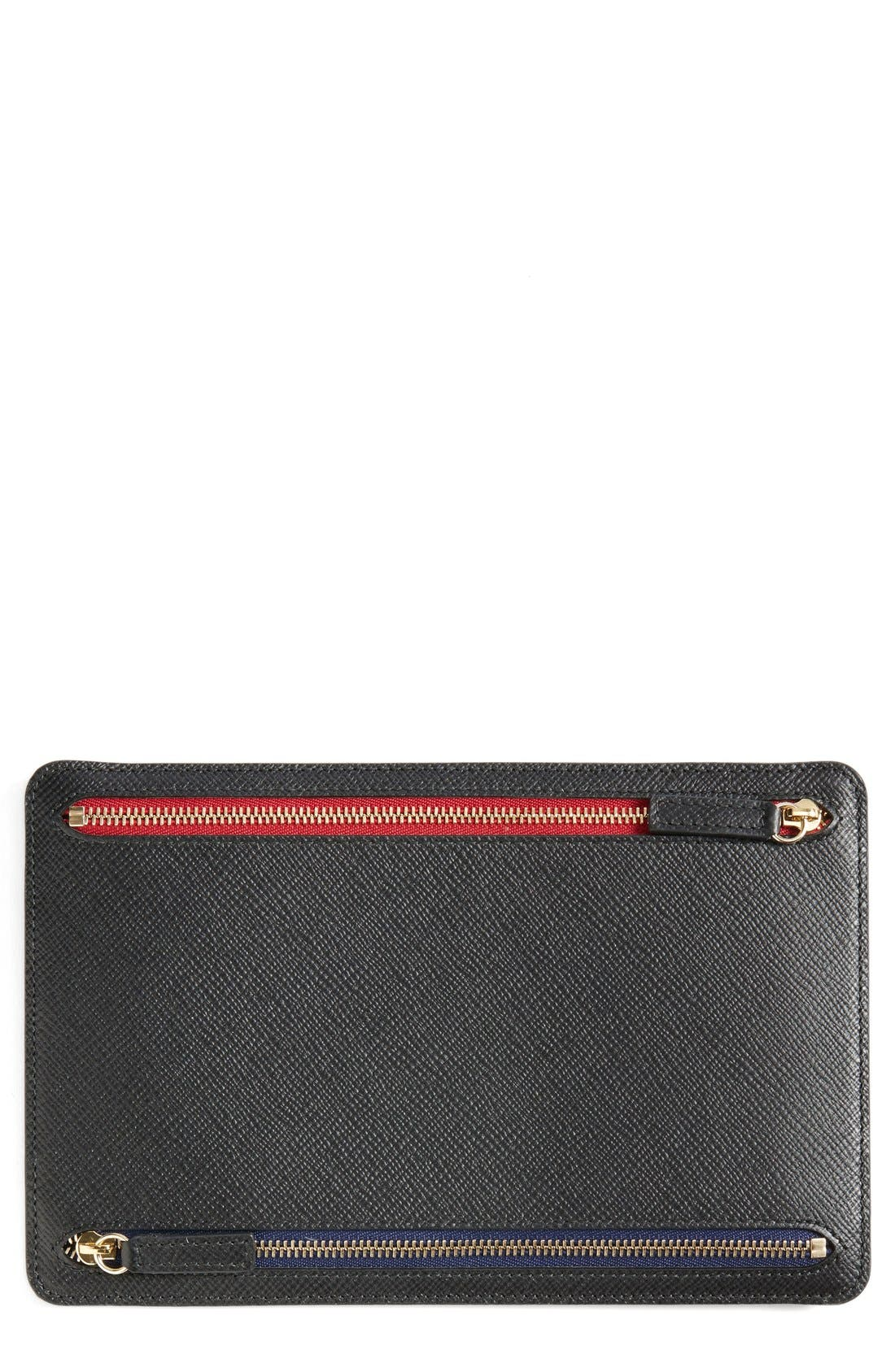 'Panama' Zip Currency Case,                             Alternate thumbnail 3, color,                             Black