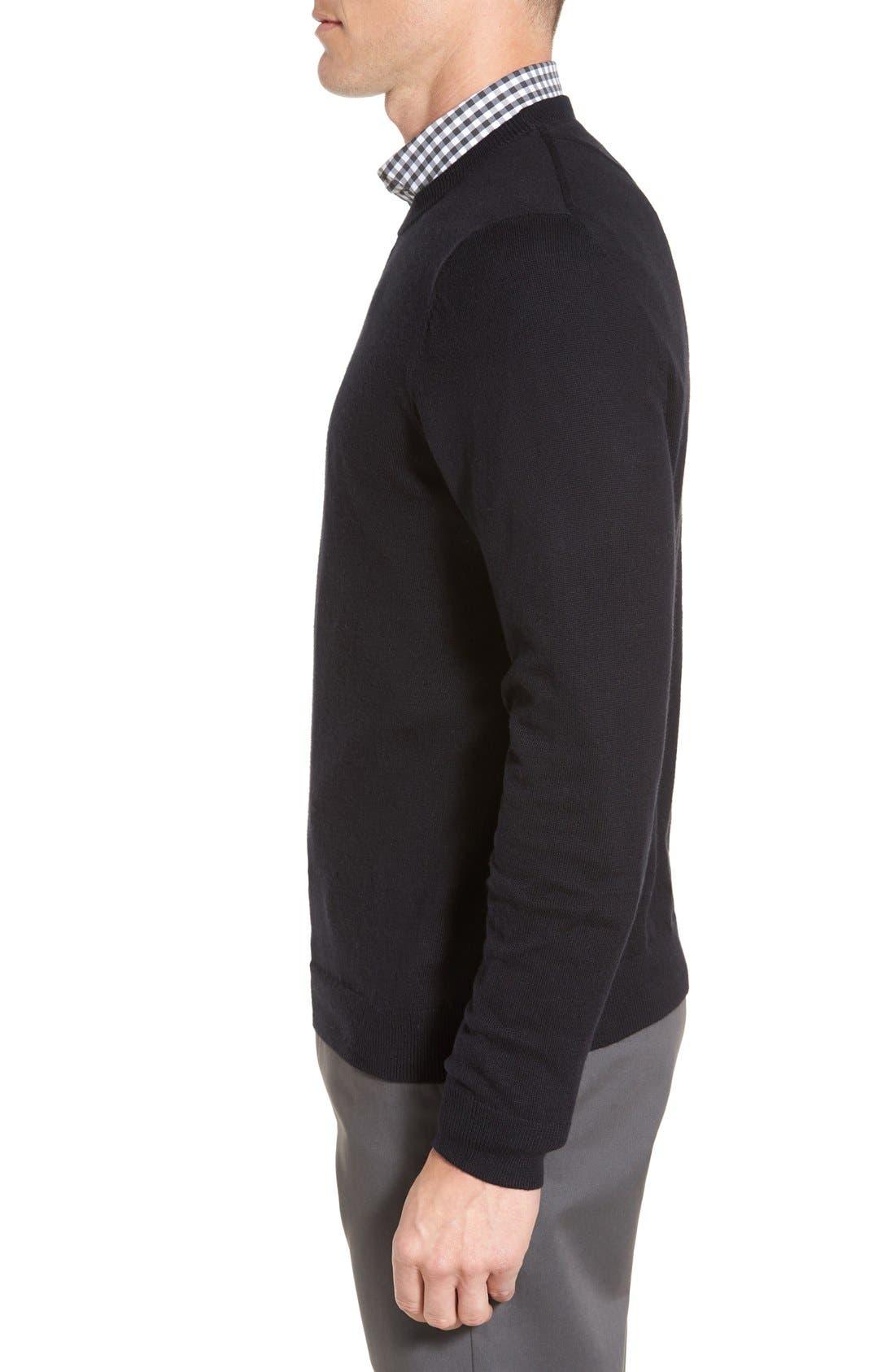 Cotton & Cashmere Crewneck Sweater,                             Alternate thumbnail 3, color,                             Black Caviar