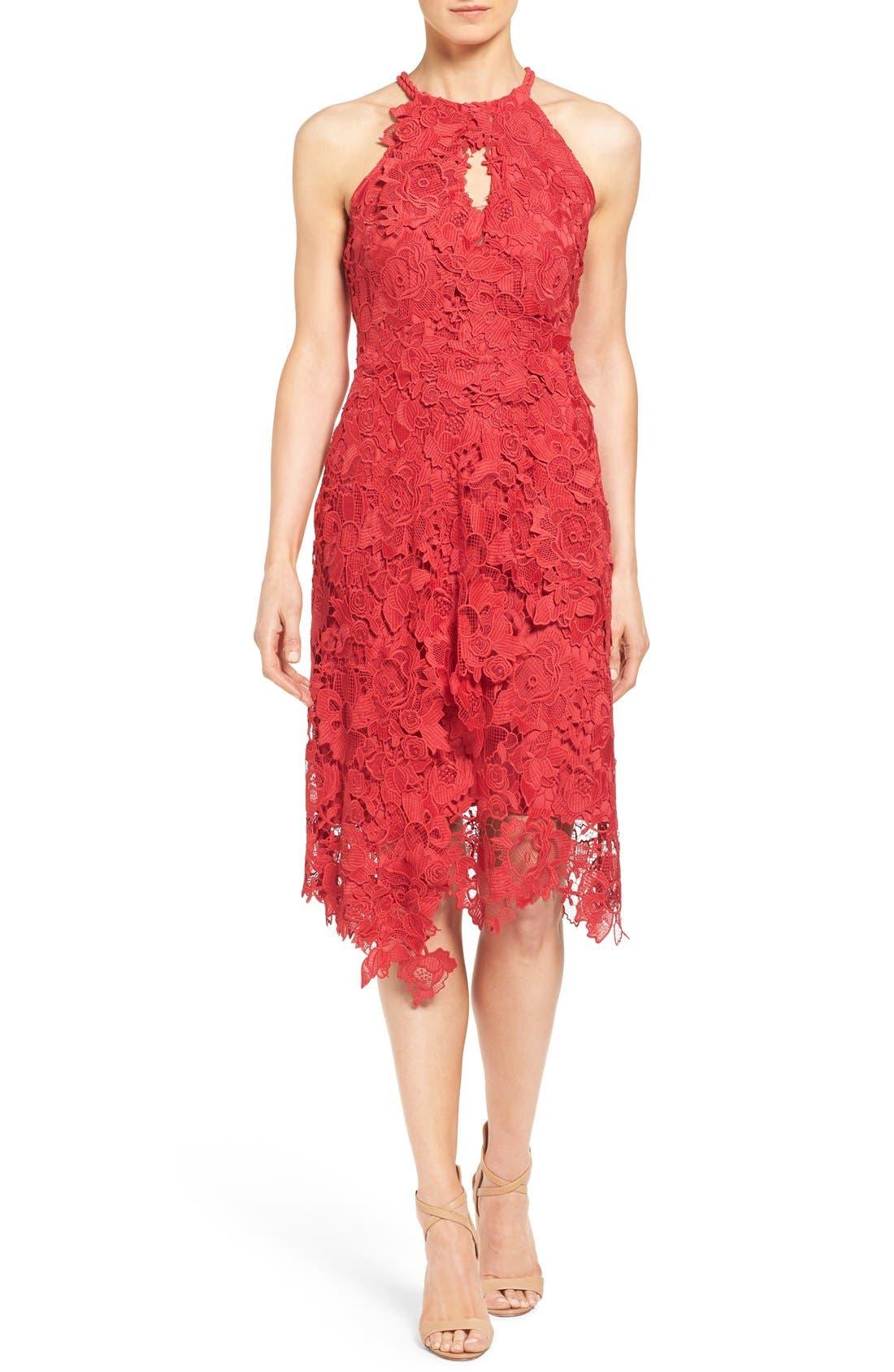 Main Image - Kobi Halperin 'Jade' Asymmetrical Hem Halter Style Lace Dress