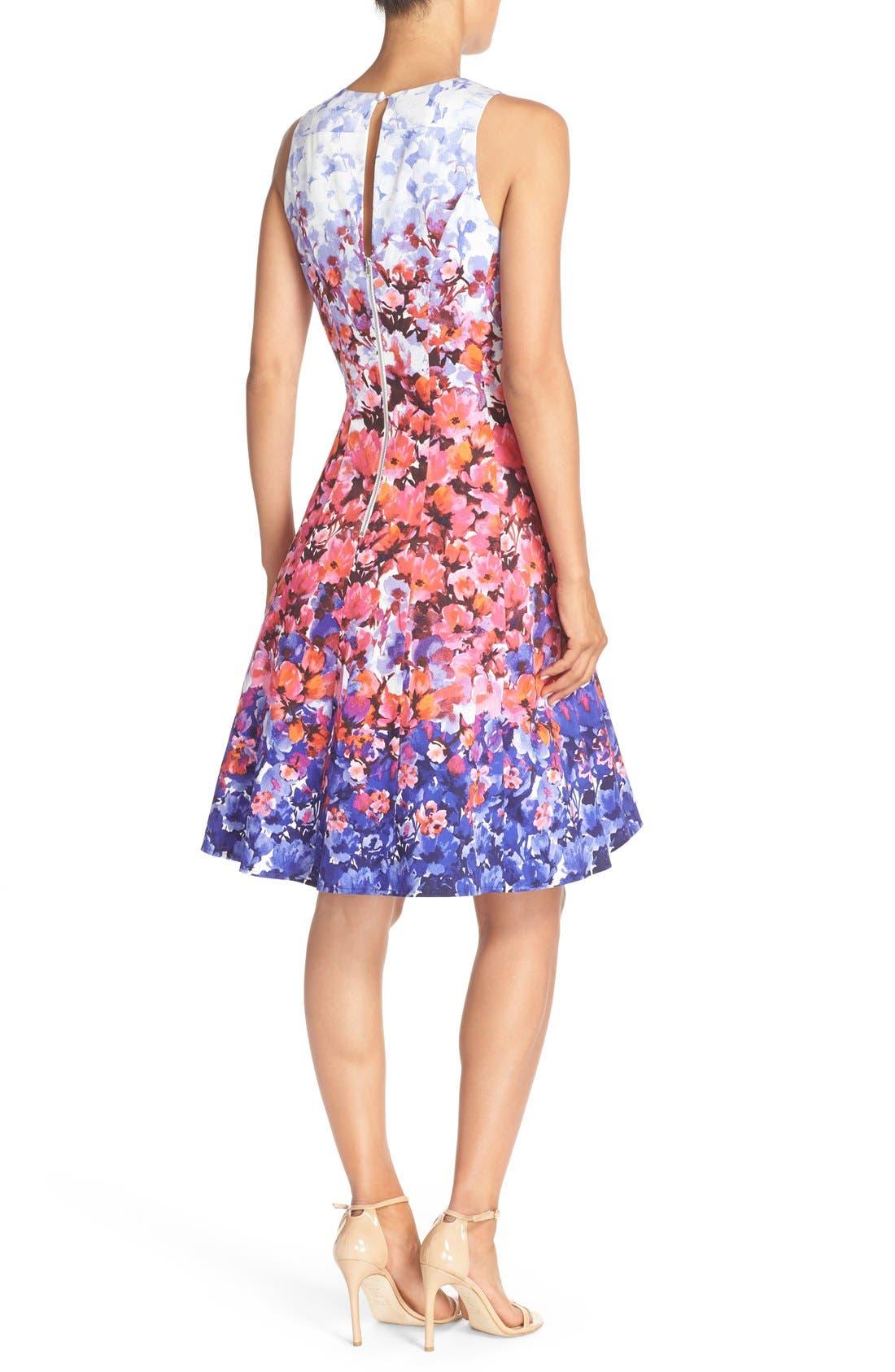 Alternate Image 2  - Maggy London Floral Print Sateen Fit & Flare Dress (Regular & Petite)