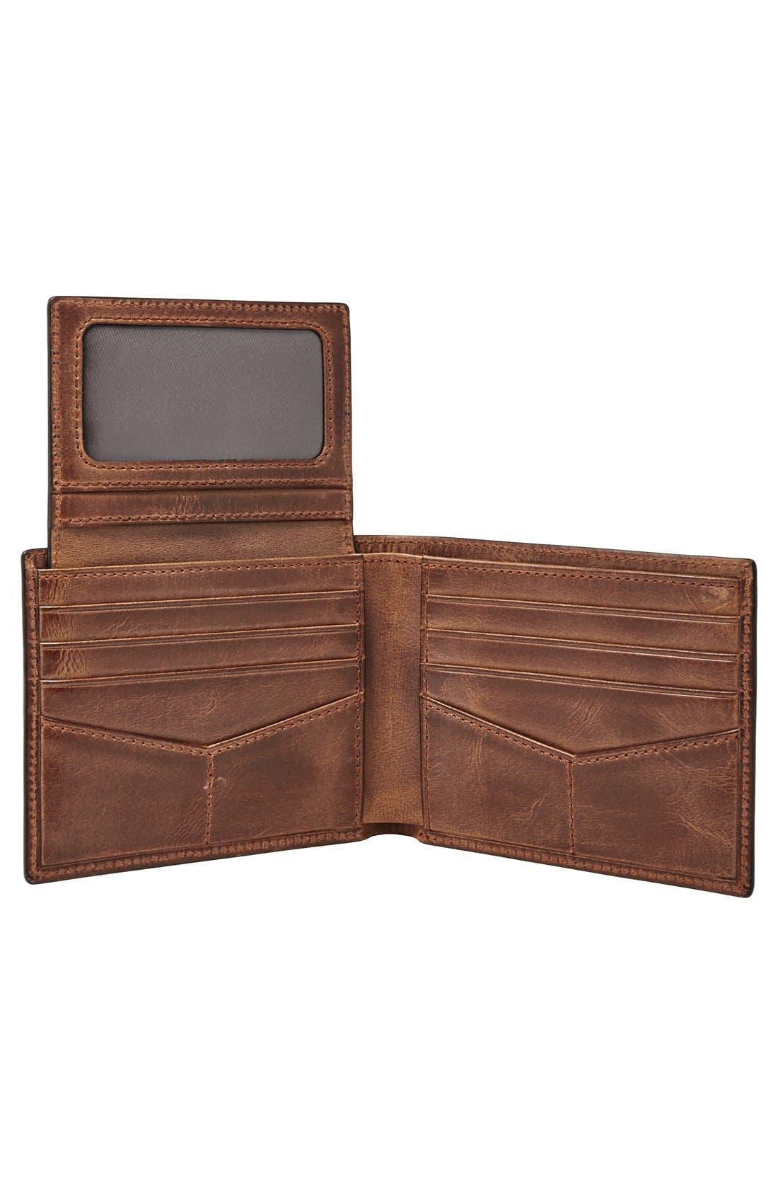 Alternate Image 2  - Fossil 'Derrick' Leather Flip Trifold Wallet