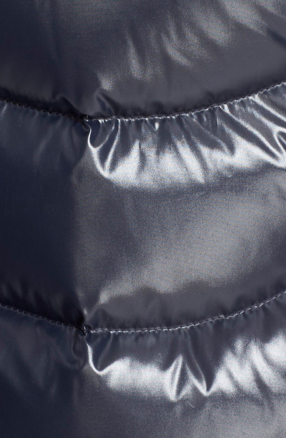 'Aphia' Water Resistant Shiny Nylon Down Puffer Coat with Removable Genuine Fox Fur Trim,                             Alternate thumbnail 3, color,                             Navy