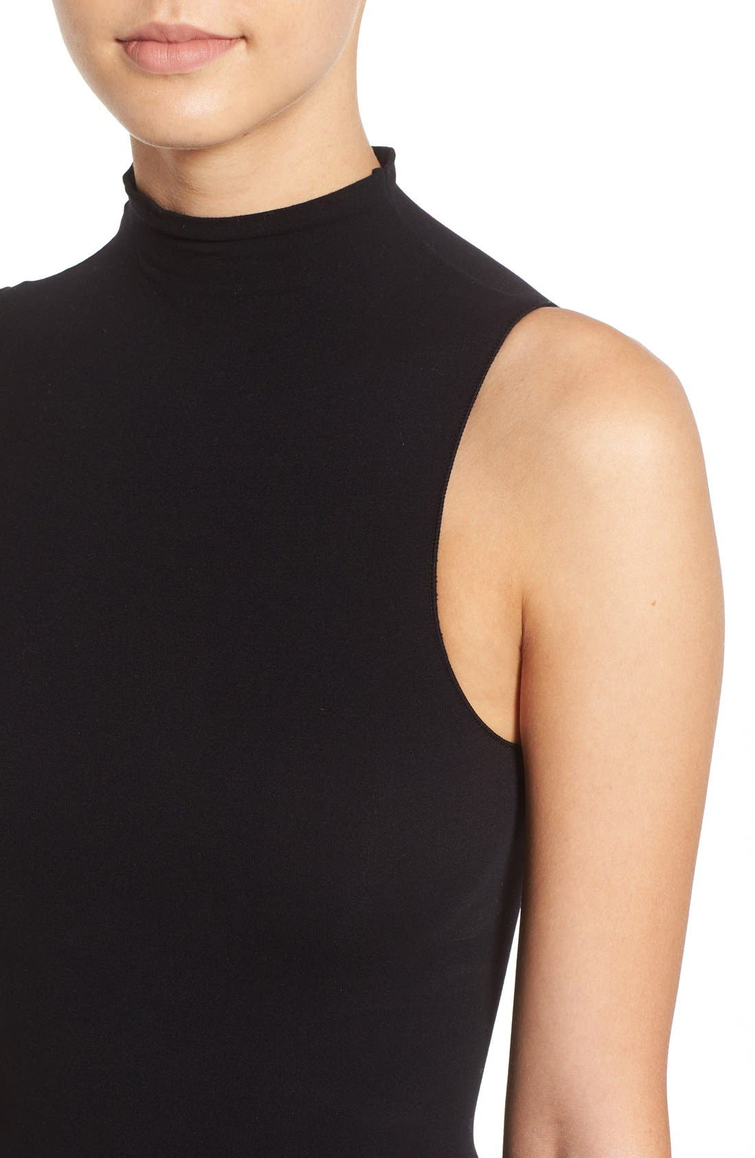 'Ballet Body' Sleeveless Thong Bodysuit,                             Alternate thumbnail 4, color,                             Black