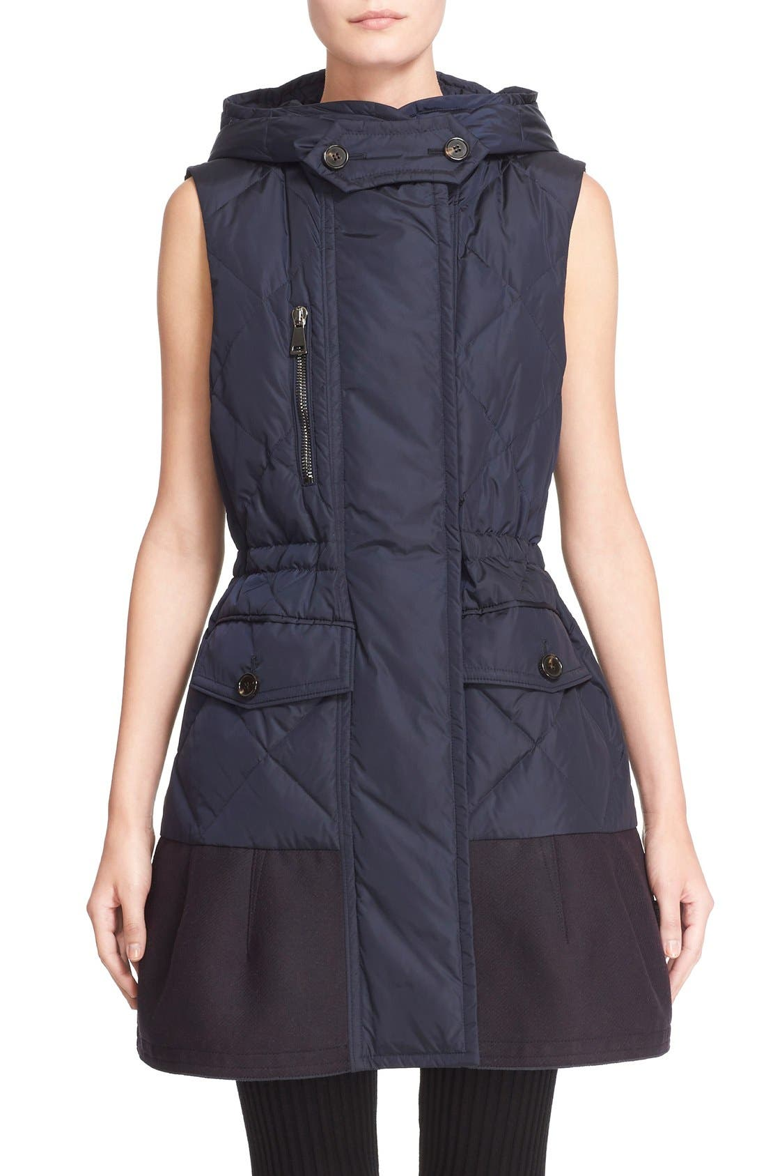 'Eles' Water Resistant Quilted Hooded Down Vest,                             Main thumbnail 1, color,                             Navy