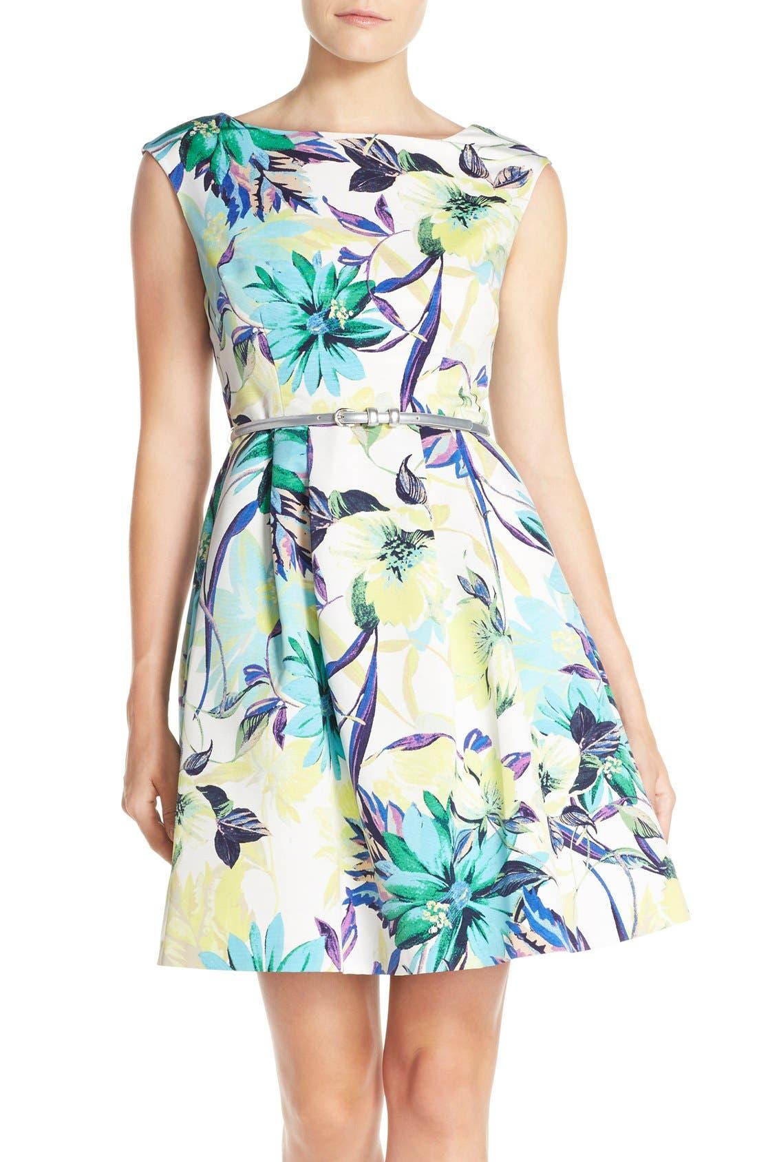 Alternate Image 1 Selected - Eliza J Belted Faille Fit & Flare Dress