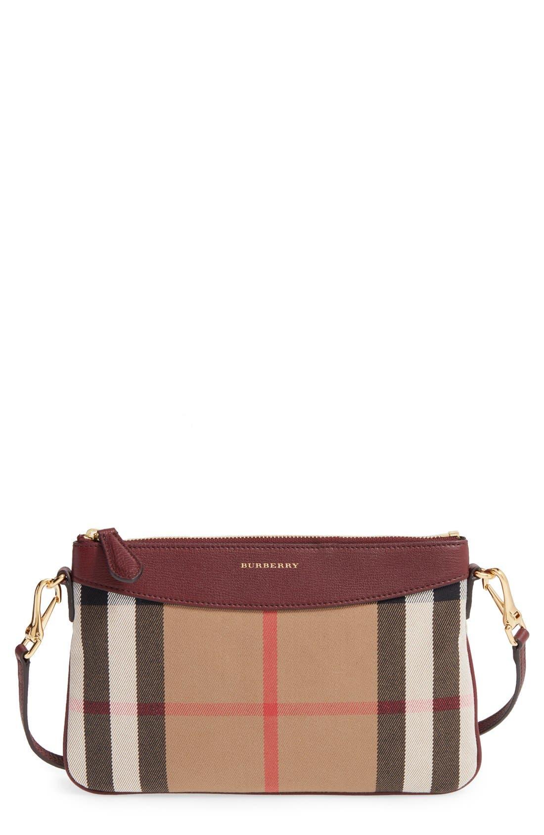 'Peyton - House Check' Crossbody Bag,                             Main thumbnail 1, color,                             Mahogany Red