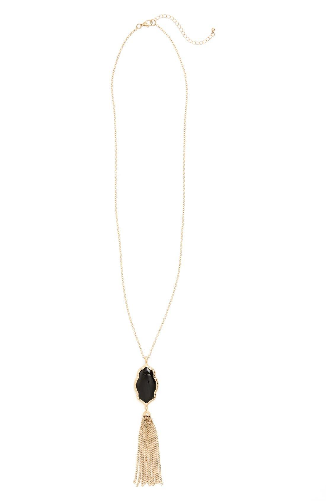 Stone Fringe Pendant Necklace,                         Main,                         color, Black/ Gold