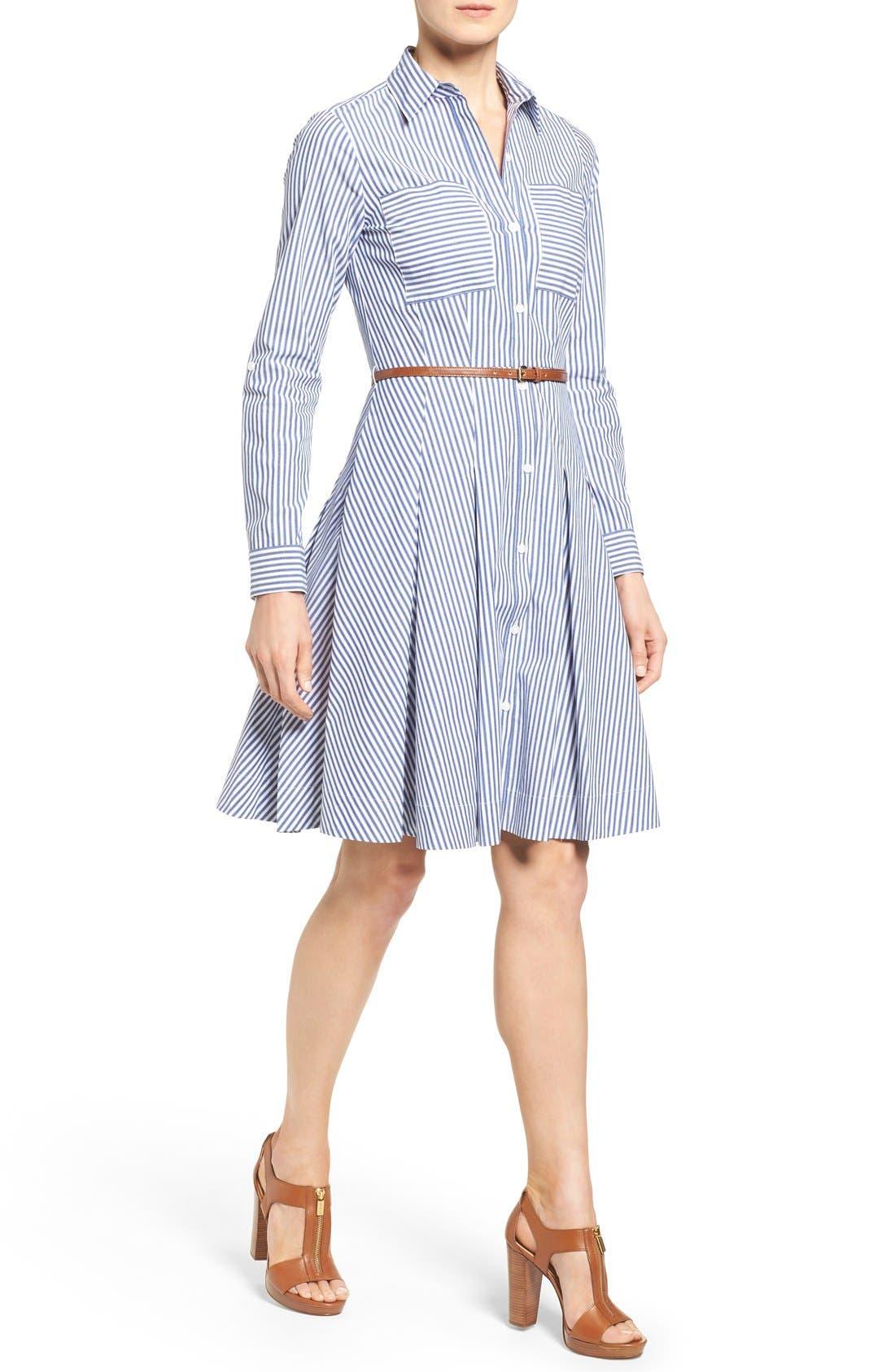 Main Image - MICHAEL Michael Kors Belted Stripe Stretch Cotton Shirtdress