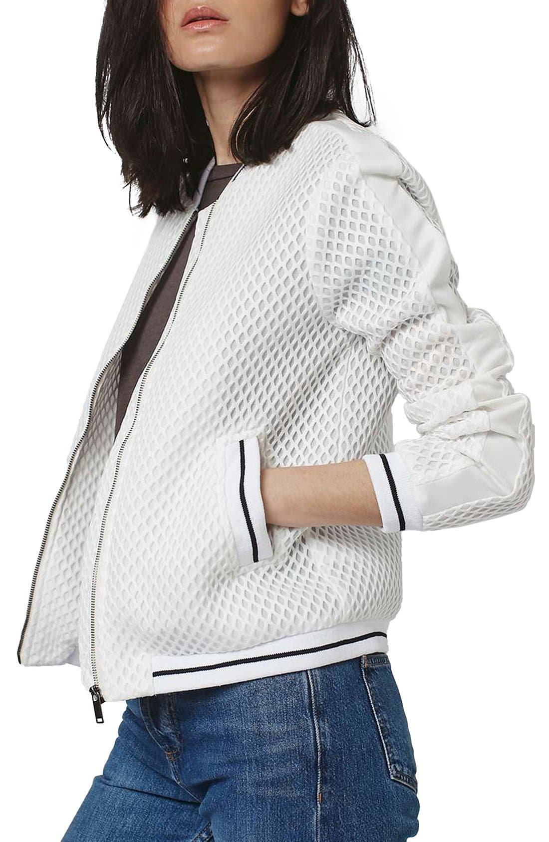Diamond Airtex Bomber Jacket,                             Main thumbnail 1, color,                             Ivory