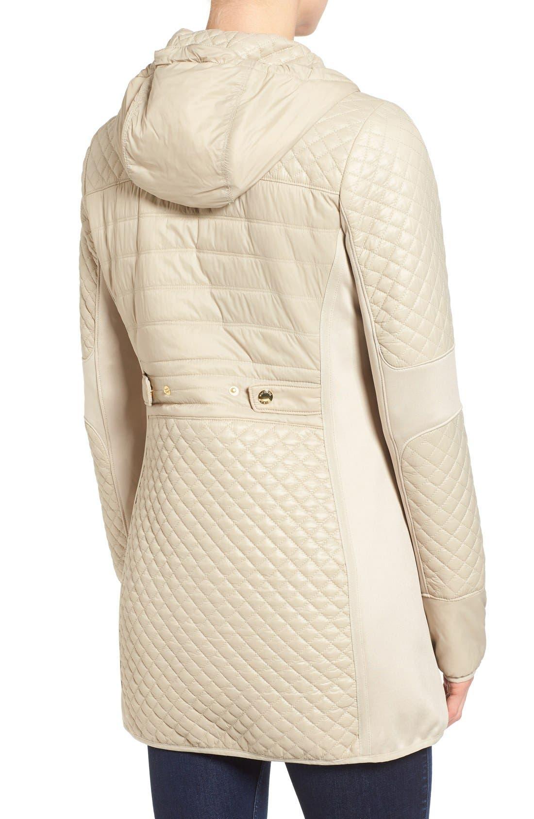 Mixed Media Hooded Zip Front Coat,                             Alternate thumbnail 2, color,                             Khaki