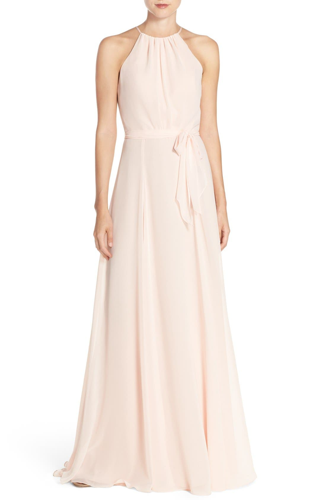 'Delaney' Belted A-Line Chiffon Halter Dress,                             Main thumbnail 1, color,                             Blush