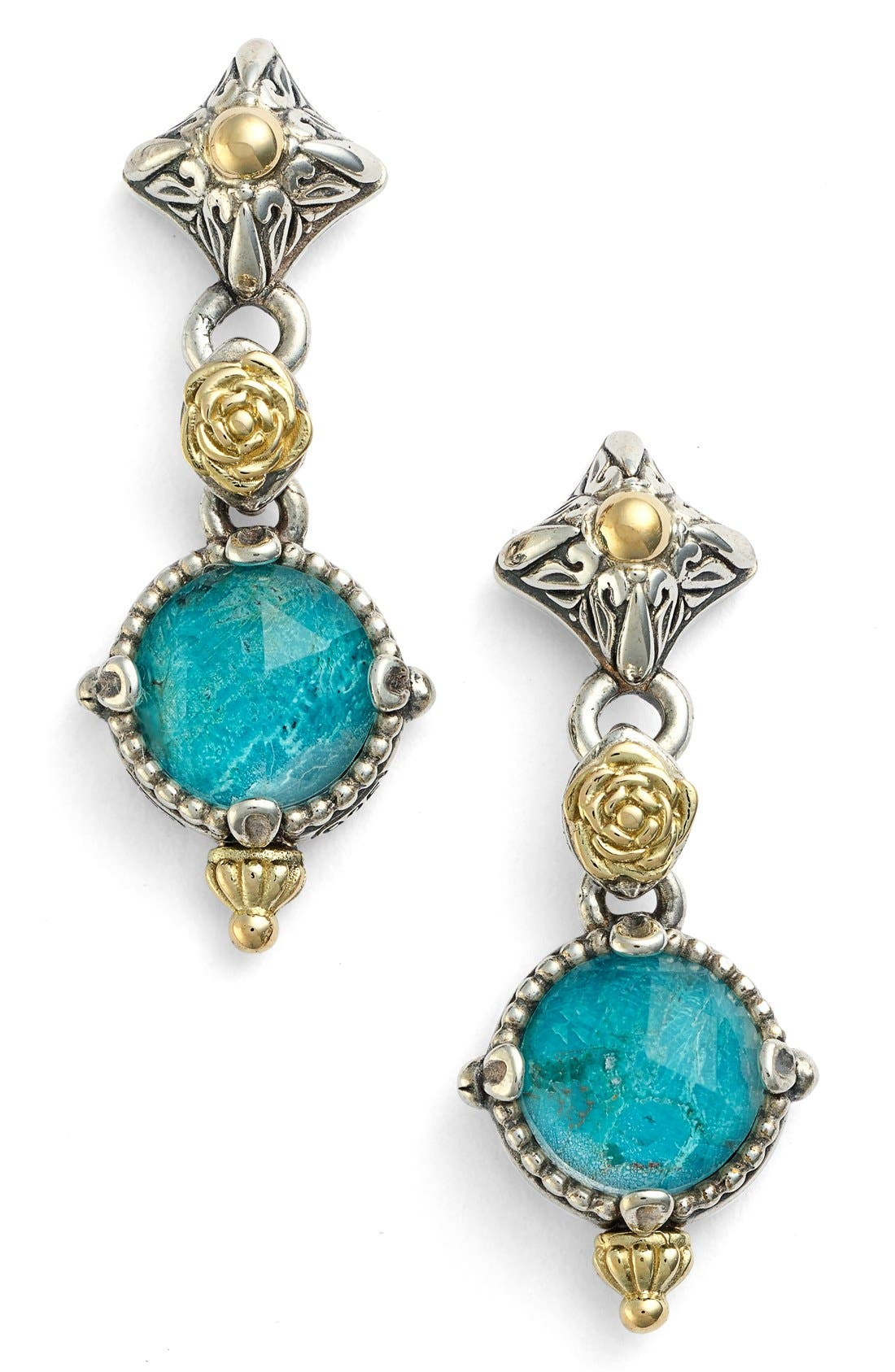 'Iliada' Double Drop Earrings,                             Main thumbnail 1, color,                             Blue/ Green
