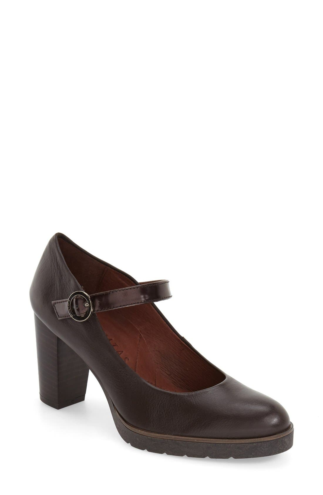 'Veda' Mary Jane Pump,                             Main thumbnail 1, color,                             Brown Leather