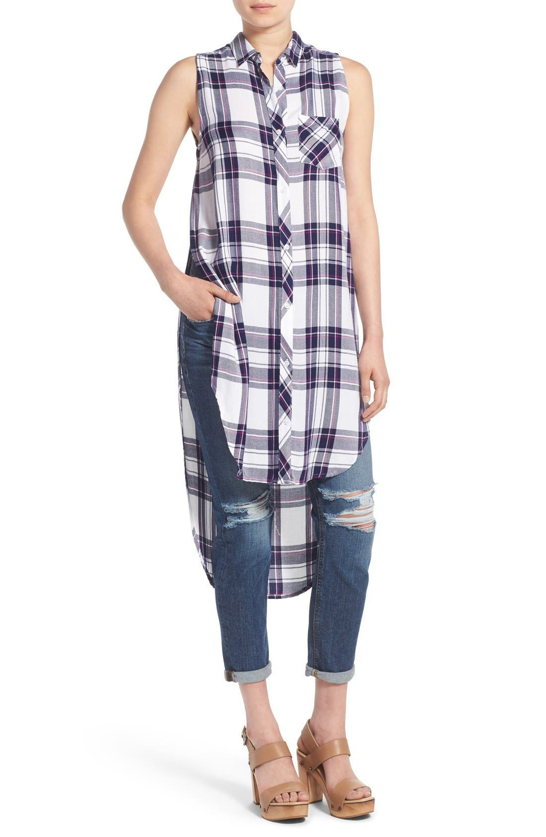 'Jordyn' Sleeveless Plaid Tunic,                             Main thumbnail 1, color,                             White/ Navy/ Orchid