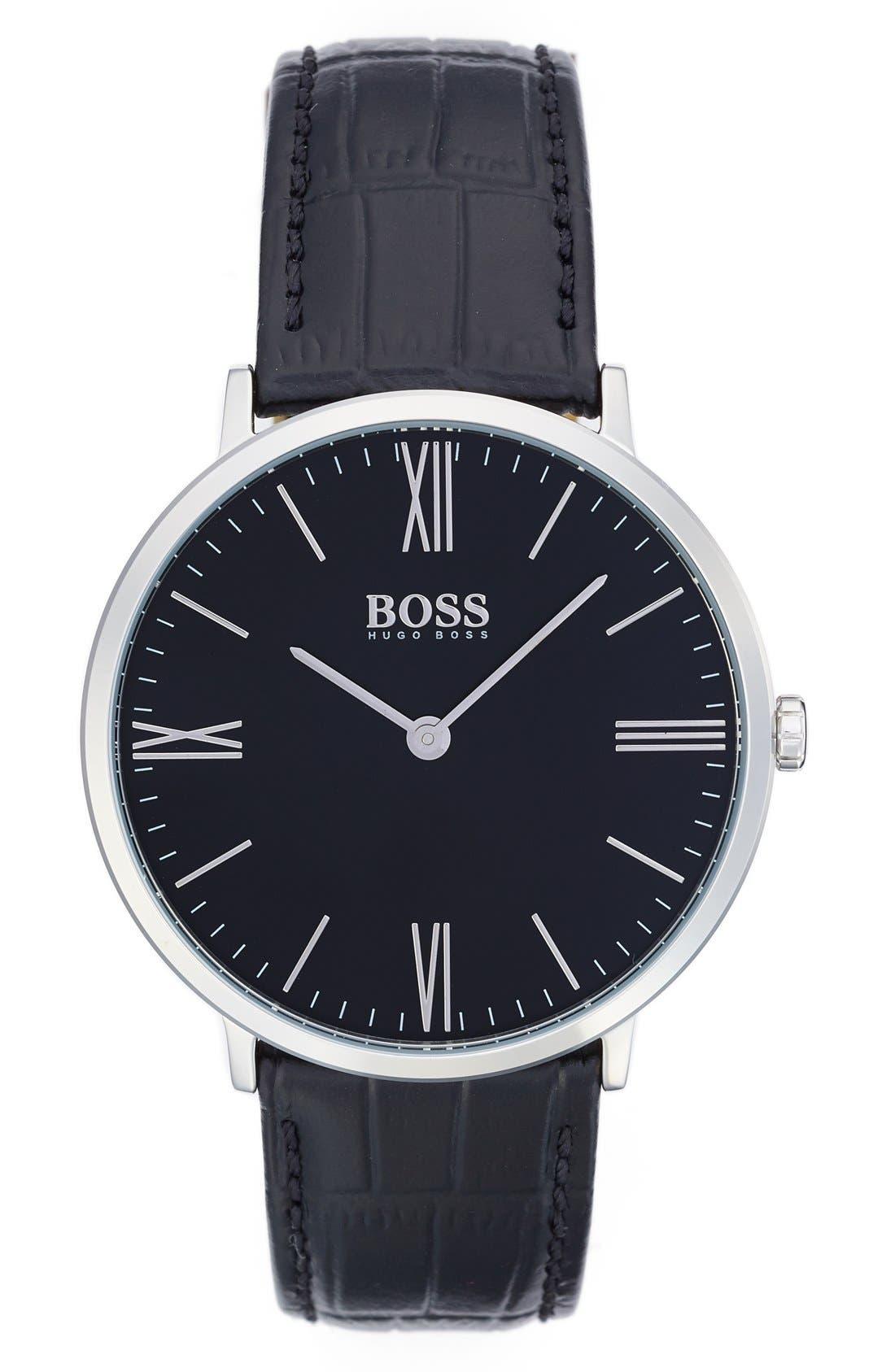 Ultra Slim Leather Strap Watch, 40mm,                         Main,                         color, Black/ Black