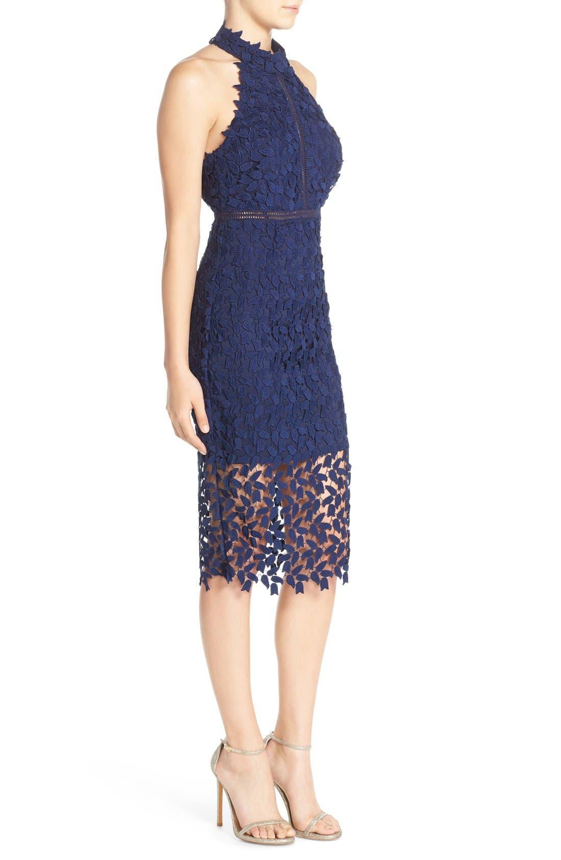 Gemma Halter Lace Sheath Dress,                             Alternate thumbnail 3, color,                             Blue Ink